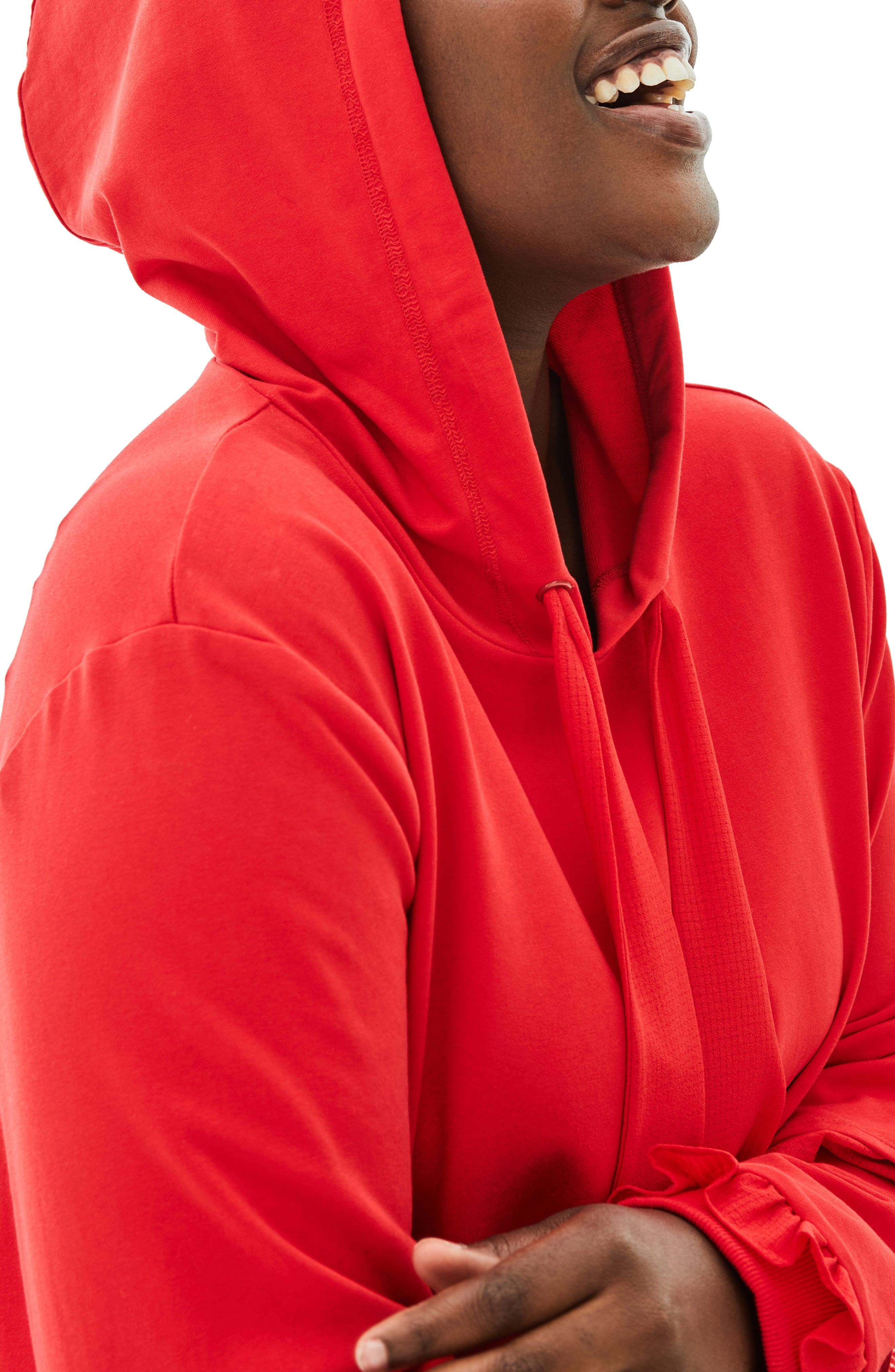 The Snapdragon Ruffle Sleeve Hoodie Dress,                             Alternate thumbnail 4, color,                             RED