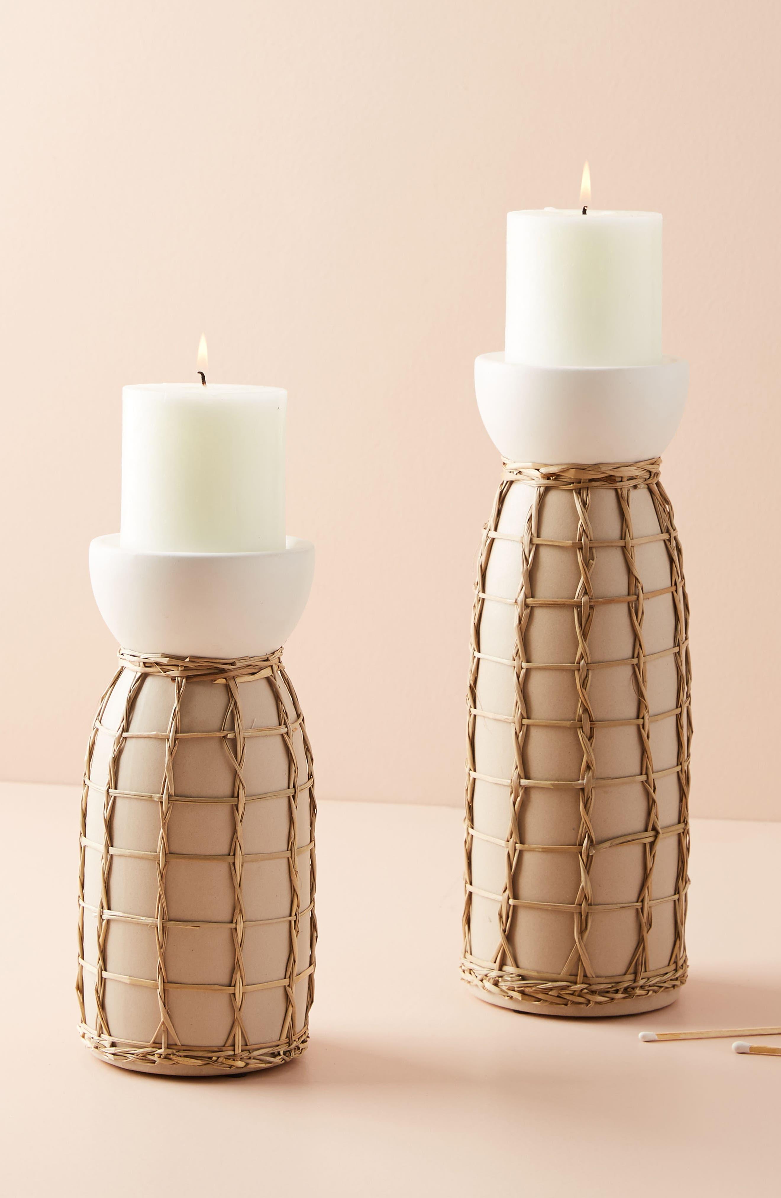 Wicker Pillar Candleholder,                         Main,                         color, 900