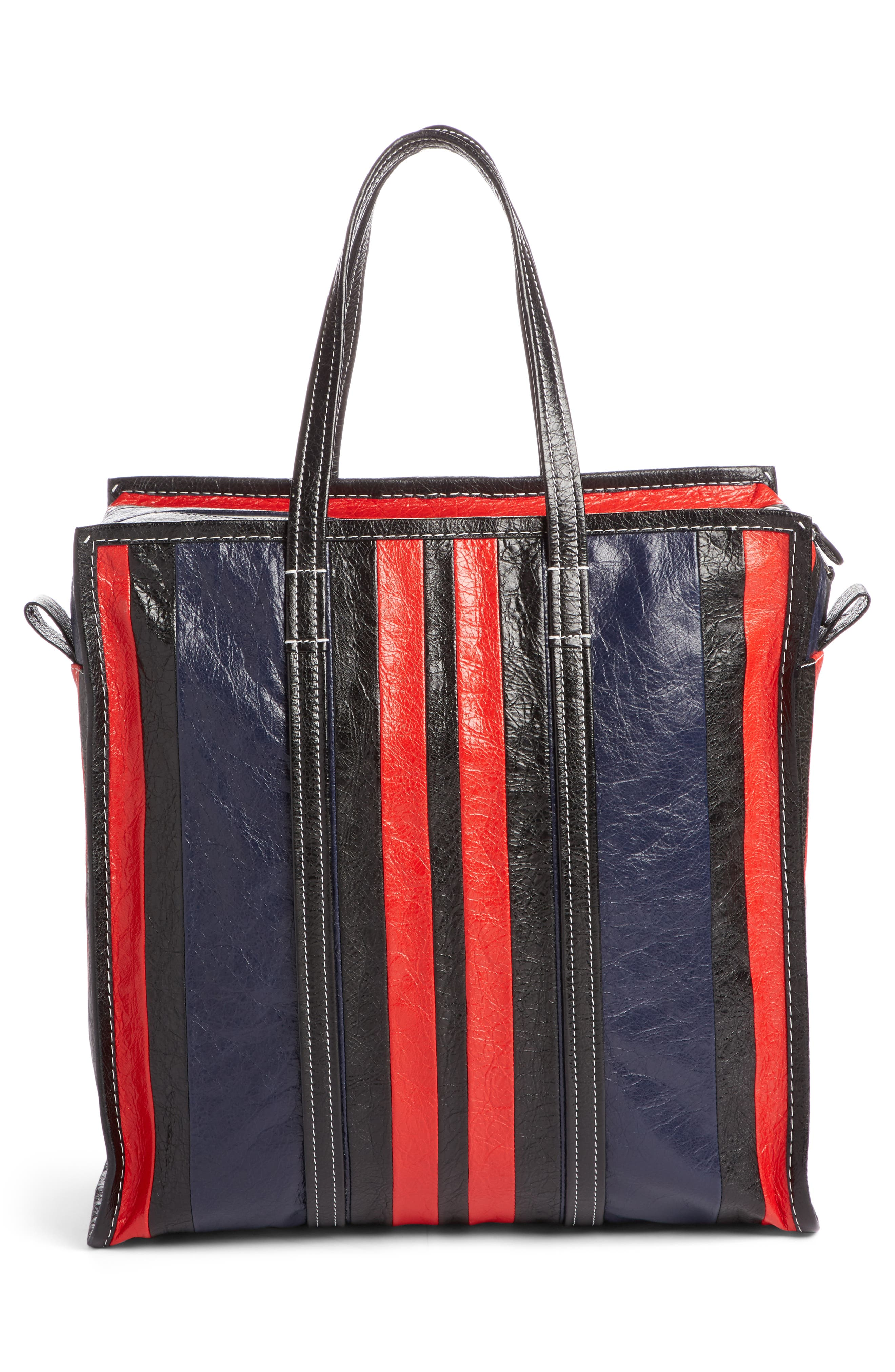 Medium Bazar Stripe Leather Tote,                             Alternate thumbnail 2, color,                             489
