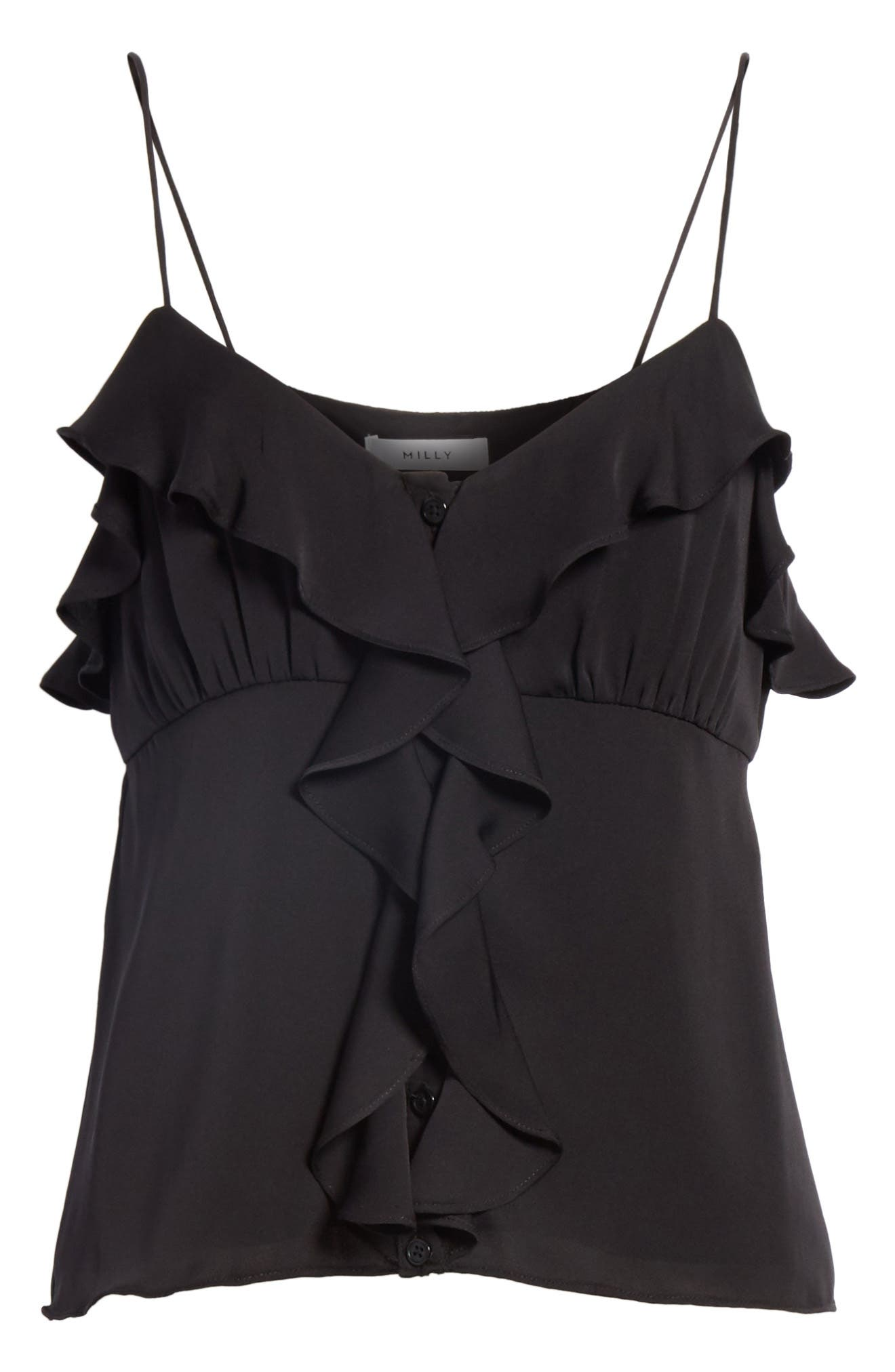 Emilia Ruffle Button Down Camisole,                             Alternate thumbnail 6, color,                             001