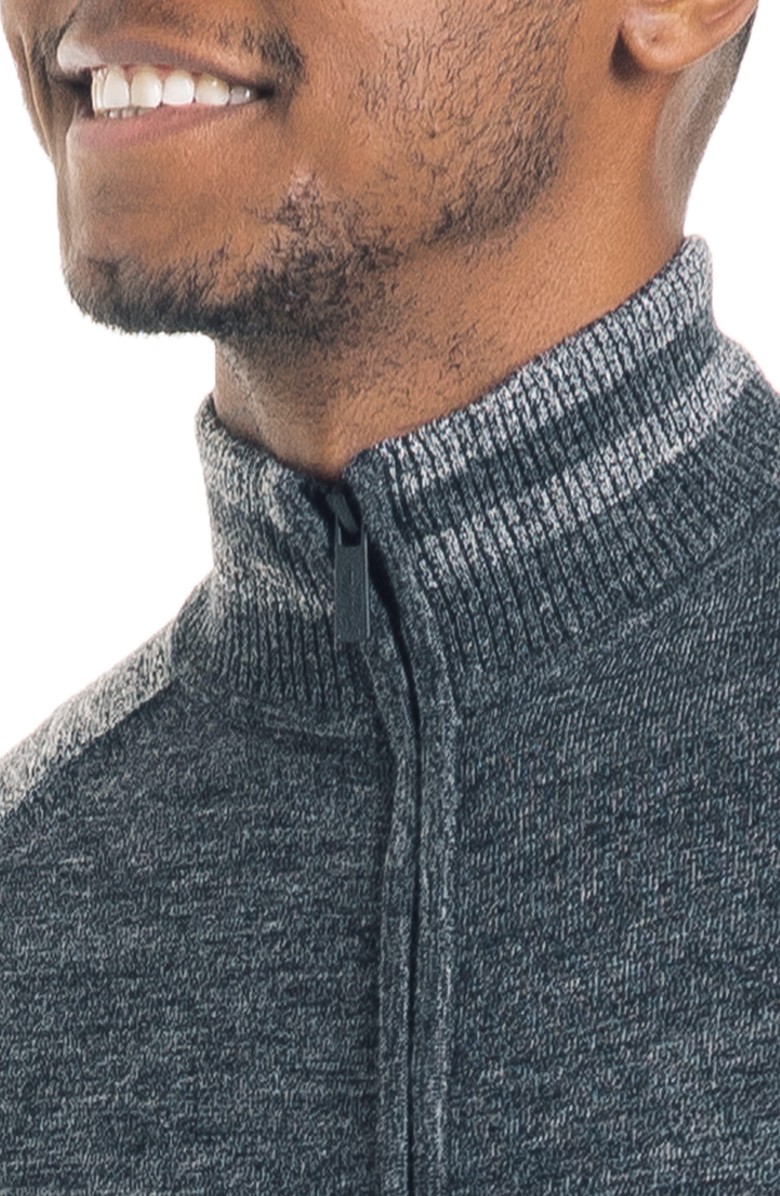 Modern Slim Fit Merino Wool Track Jacket,                             Alternate thumbnail 4, color,                             BLACK