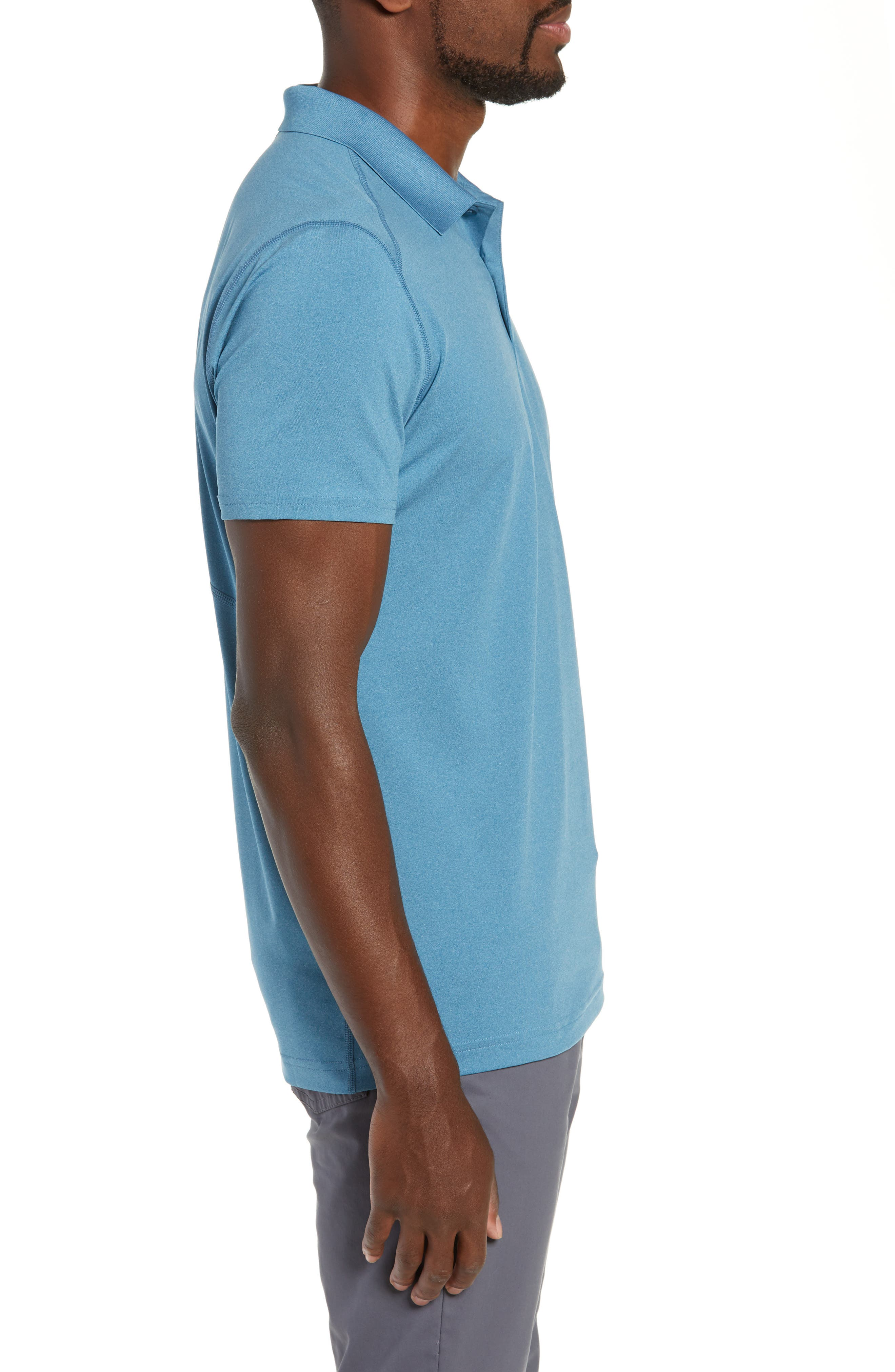 M-Flex Flatiron Slim Fit Golf Polo,                             Alternate thumbnail 3, color,                             HEATHERED BLUE