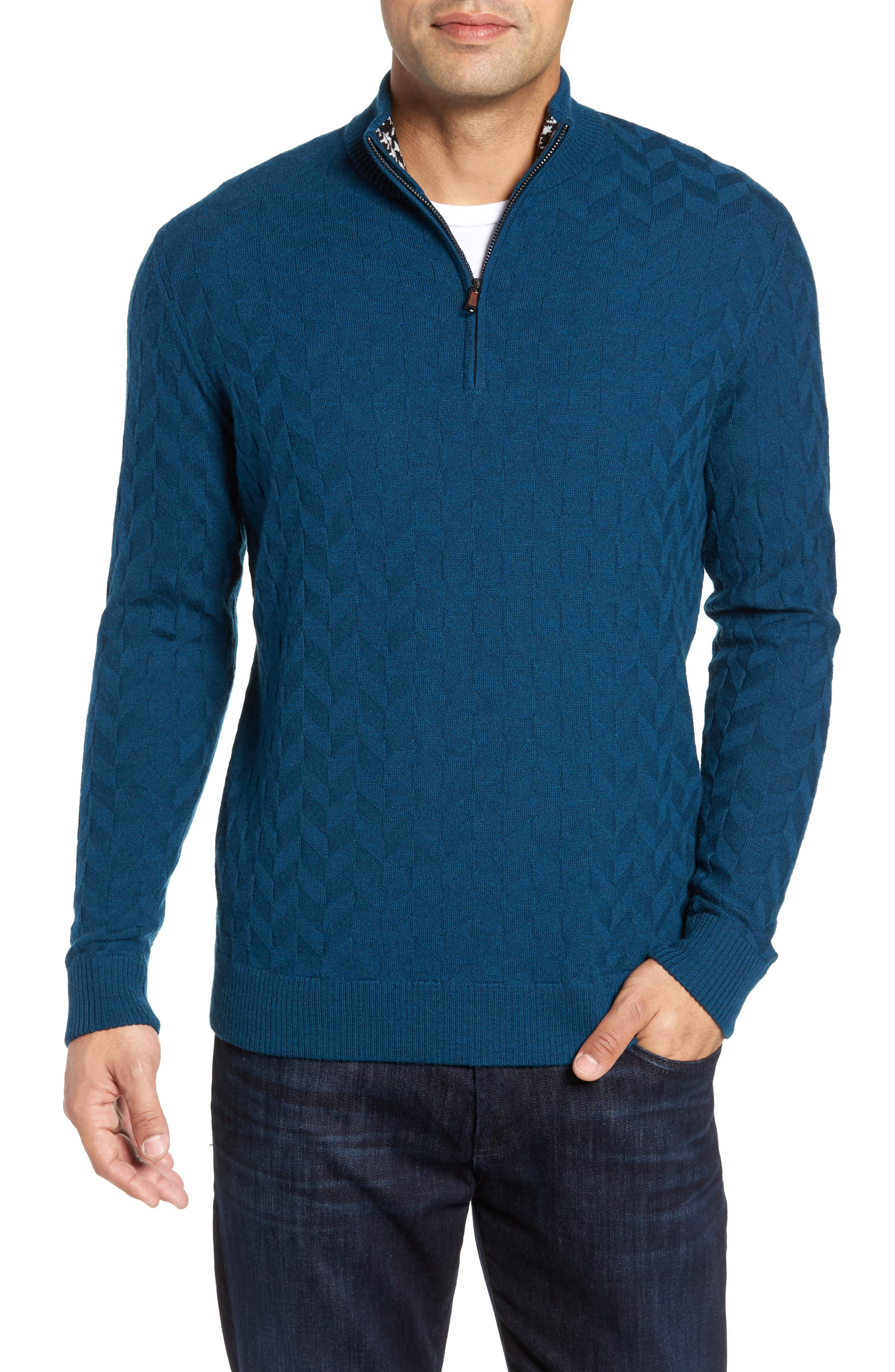 Rowley Classic Fit Quarter Zip Sweater,                         Main,                         color, TEAL