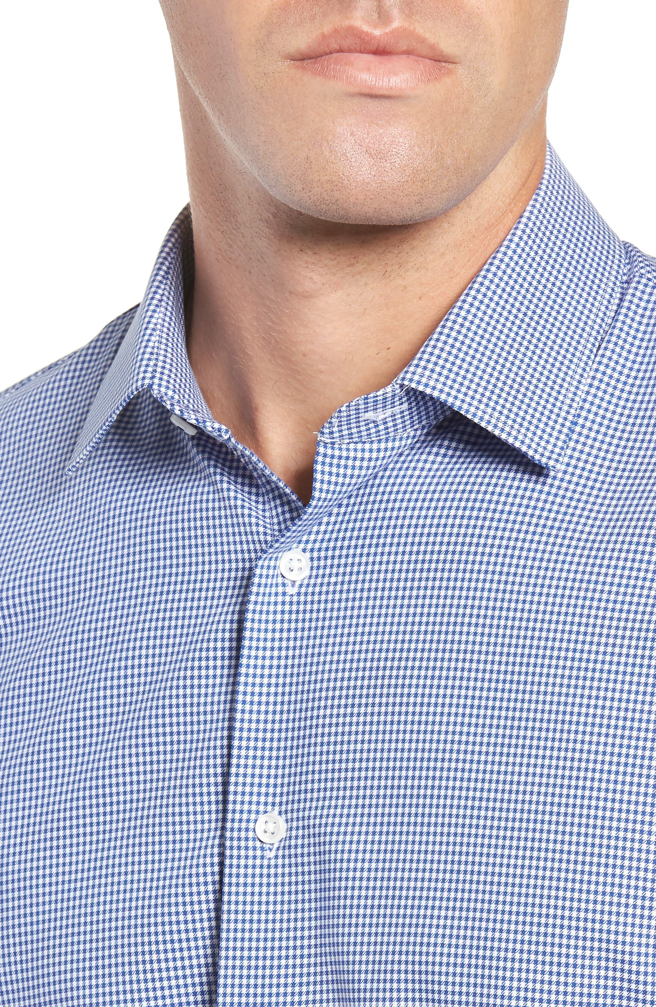 Tech-Smart Trim Fit Stretch Check Dress Shirt,                             Alternate thumbnail 2, color,                             BLUE MARINE