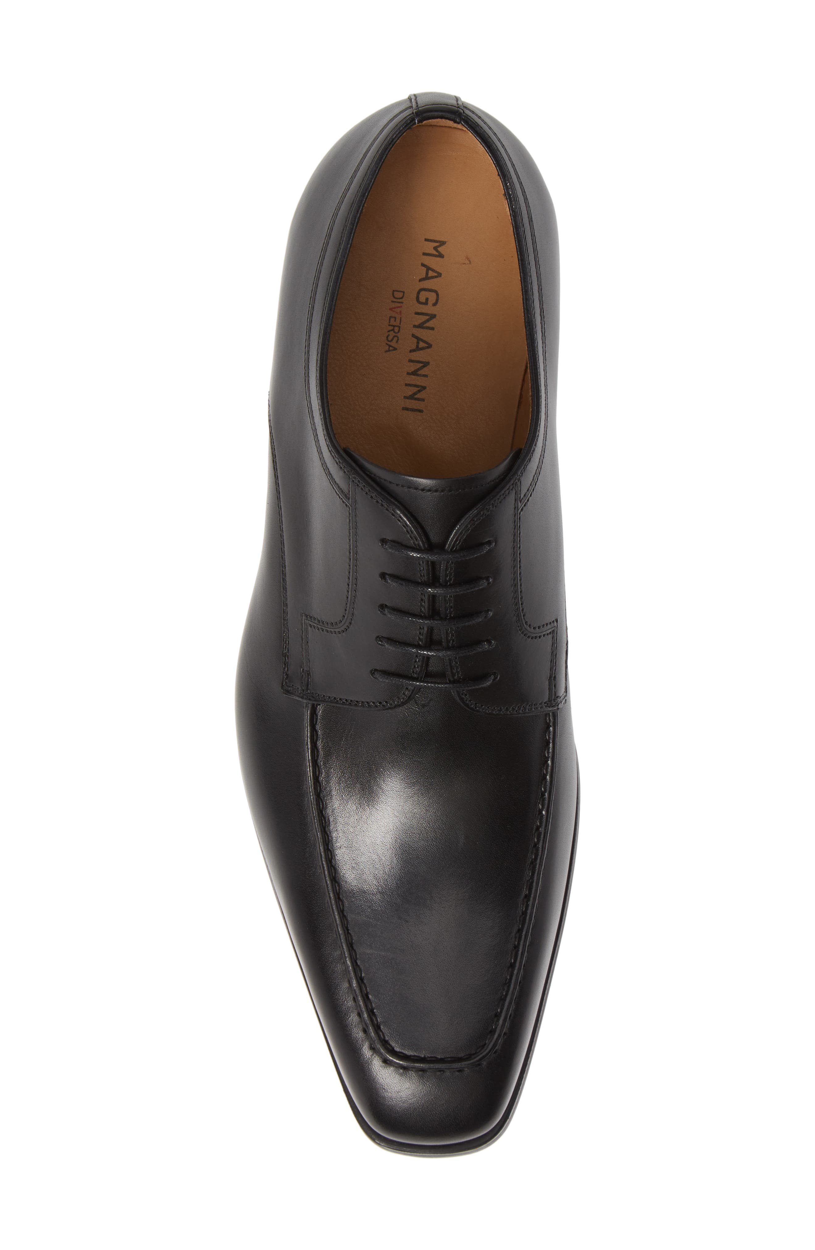 MAGNANNI,                             Diversa Romelo Apron Toe Derby,                             Alternate thumbnail 5, color,                             BLACK LEATHER