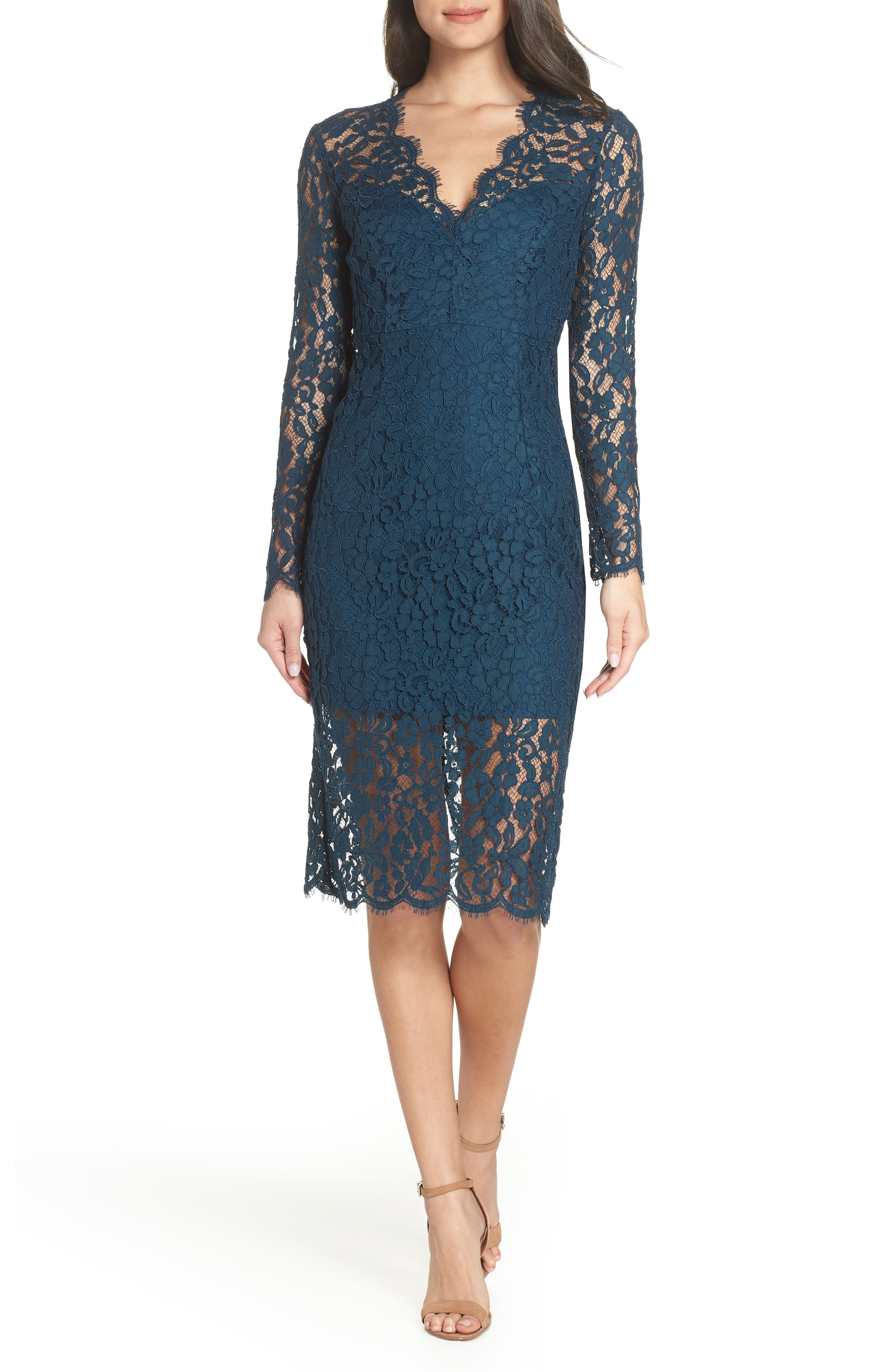 Bardot Midnights Lace Dress, Blue