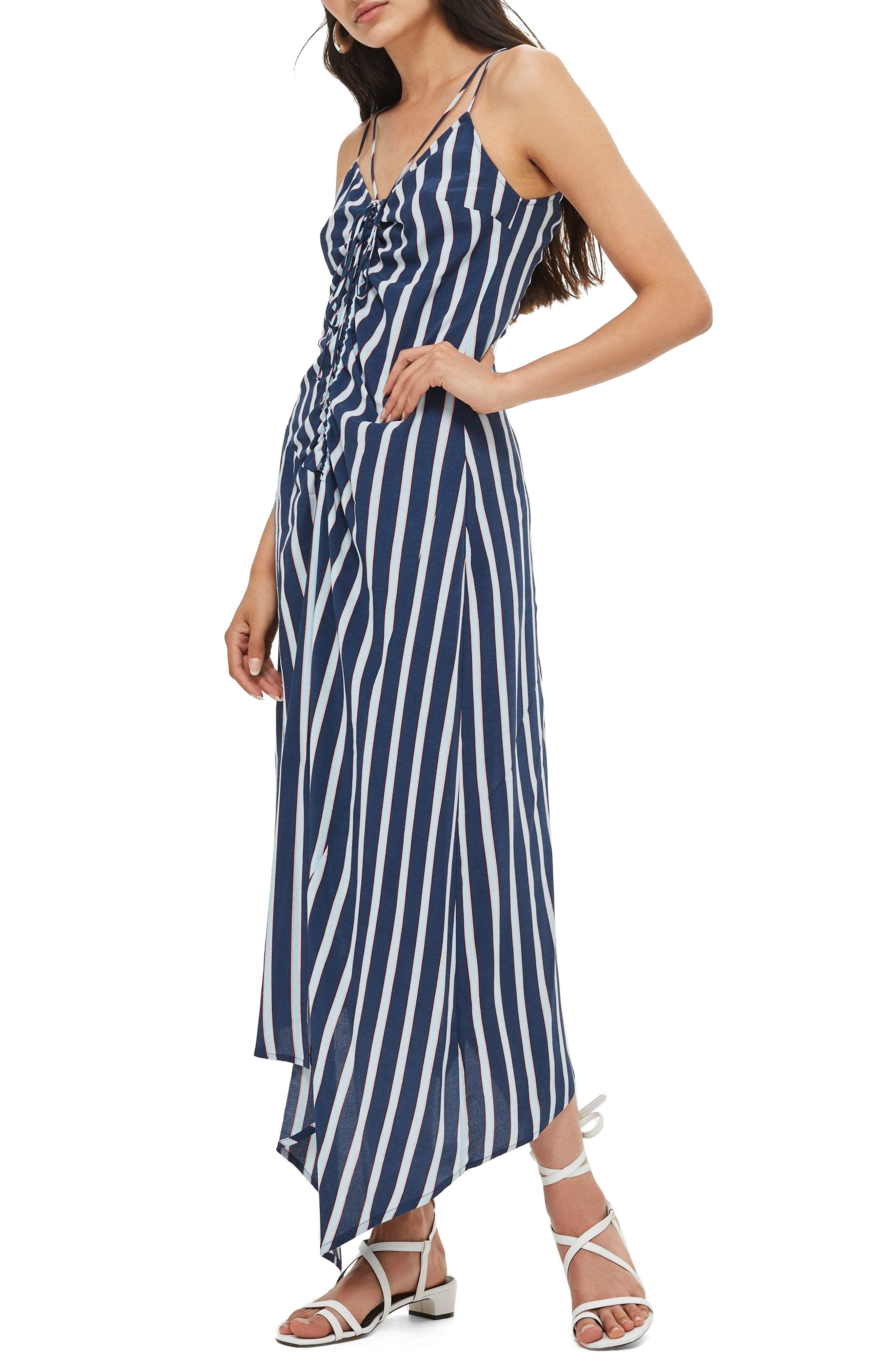 Stripe Ruched Slipdress,                         Main,                         color, 400