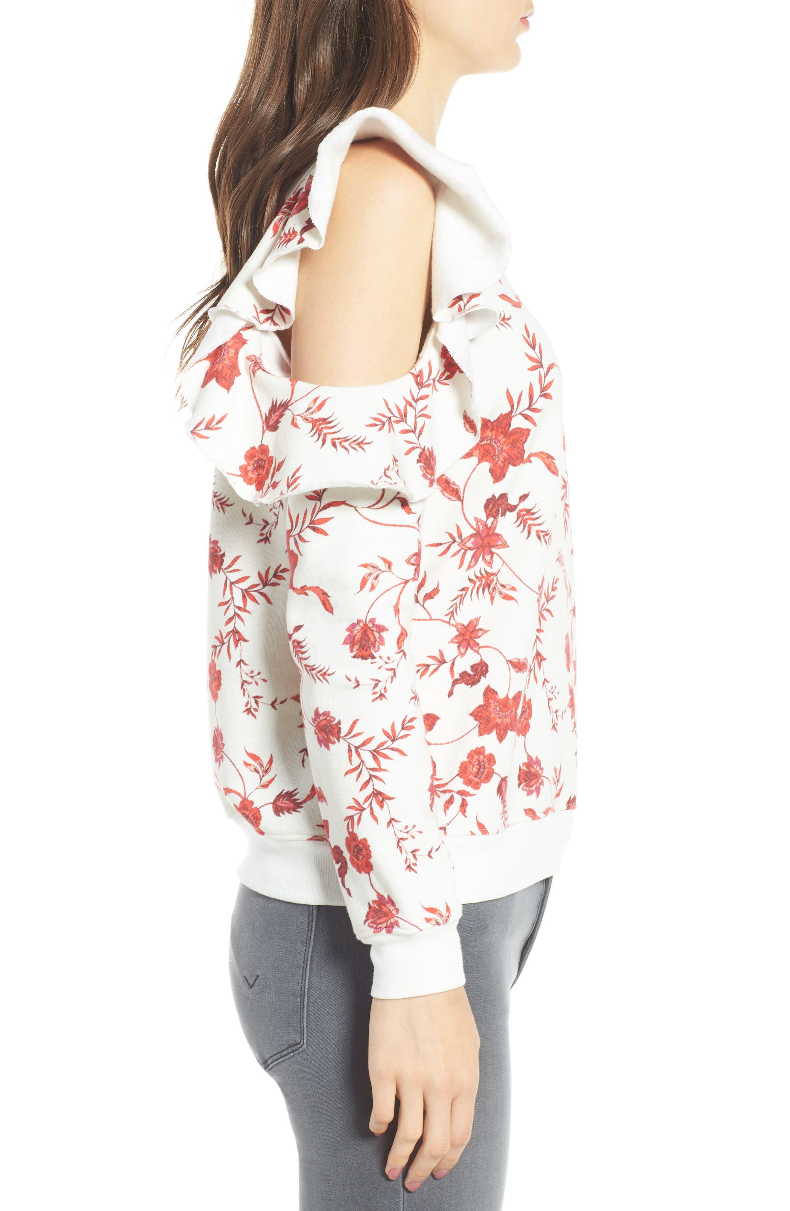 REBECCA MINKOFF,                             Gracie Cold Shoulder Floral Sweatshirt,                             Alternate thumbnail 3, color,                             900