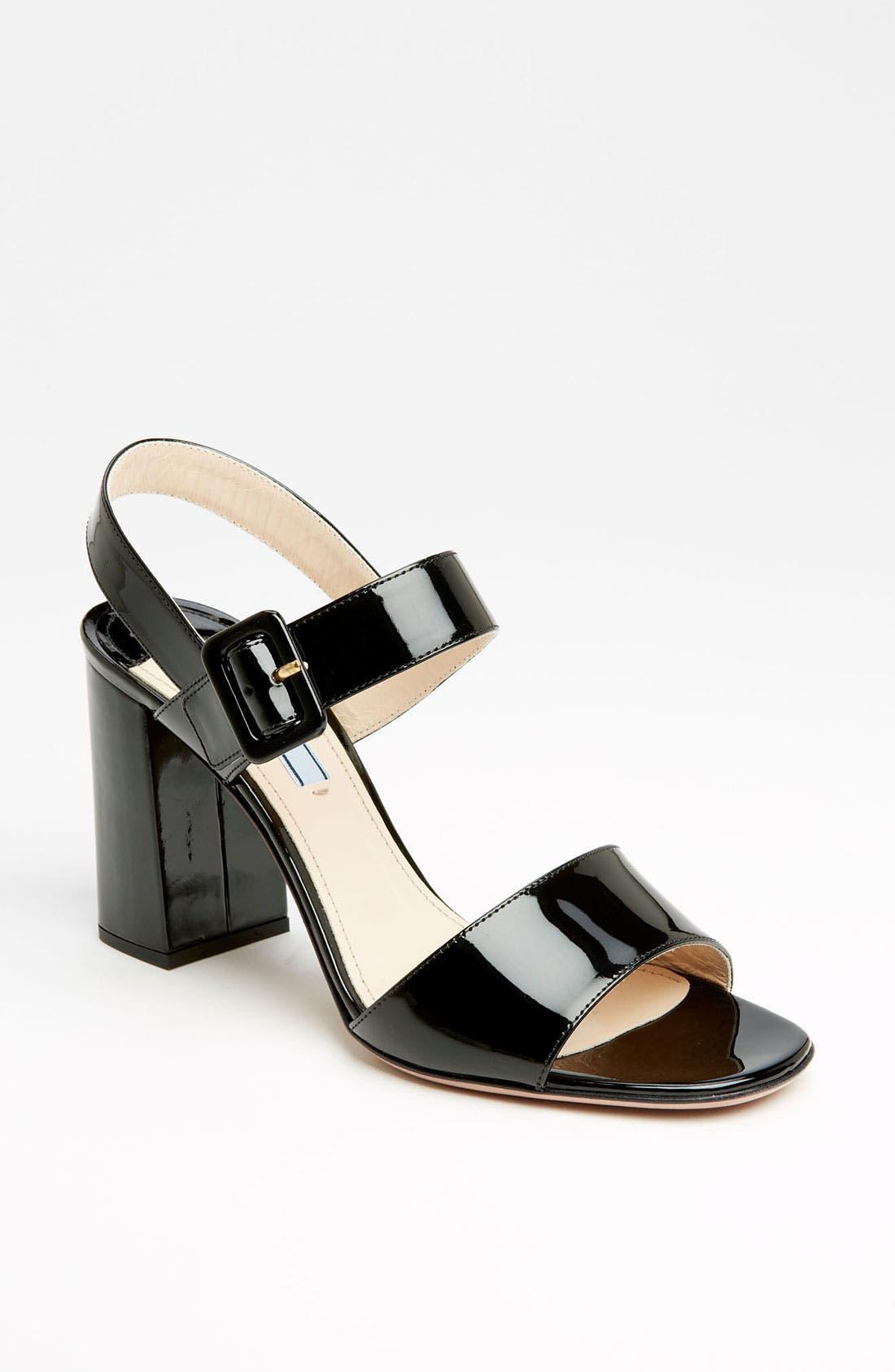 Two Strap Block Heel Sandal,                             Main thumbnail 1, color,                             001