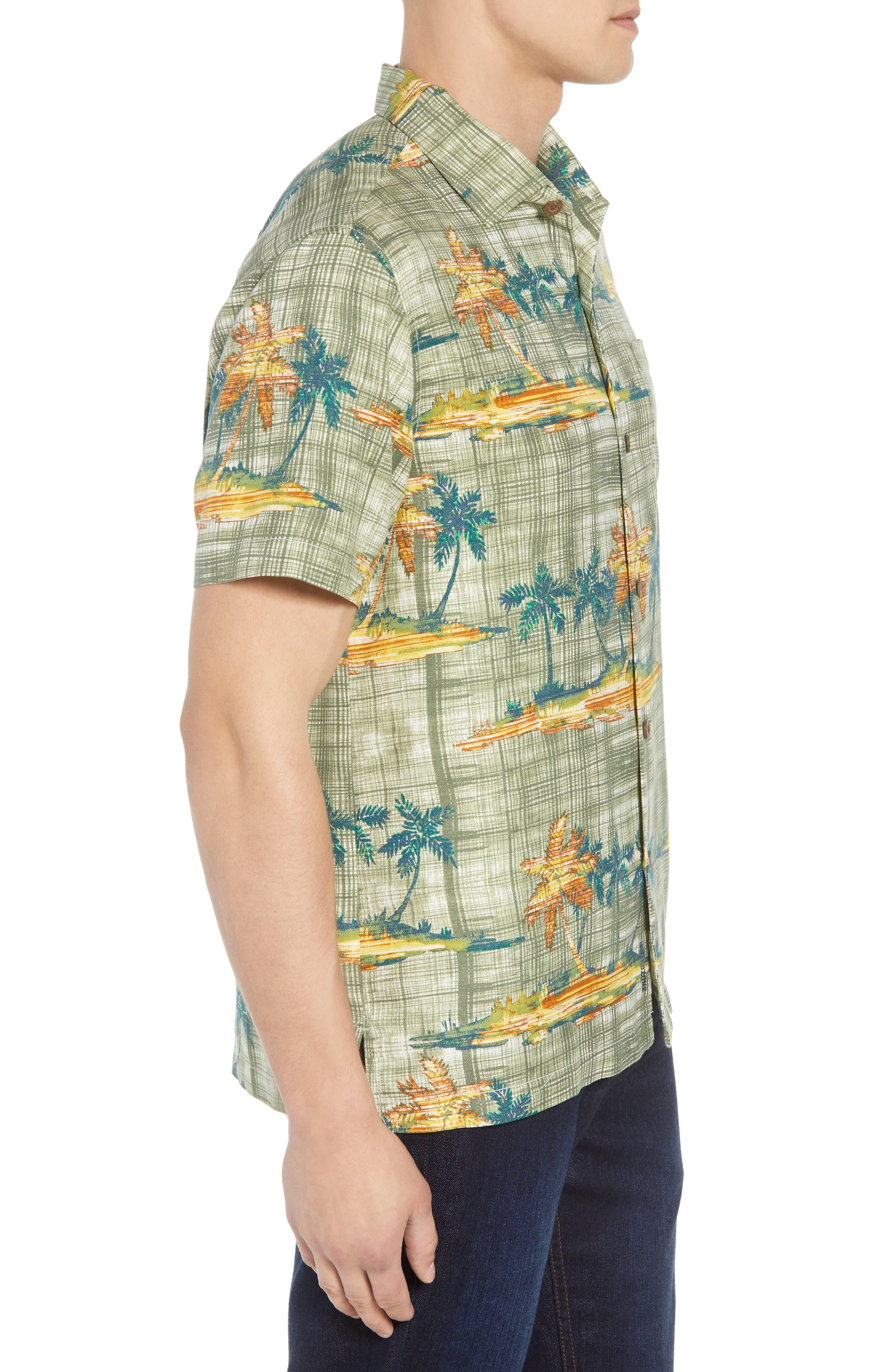 Zama Palms Silk Blend Camp Shirt,                             Alternate thumbnail 3, color,