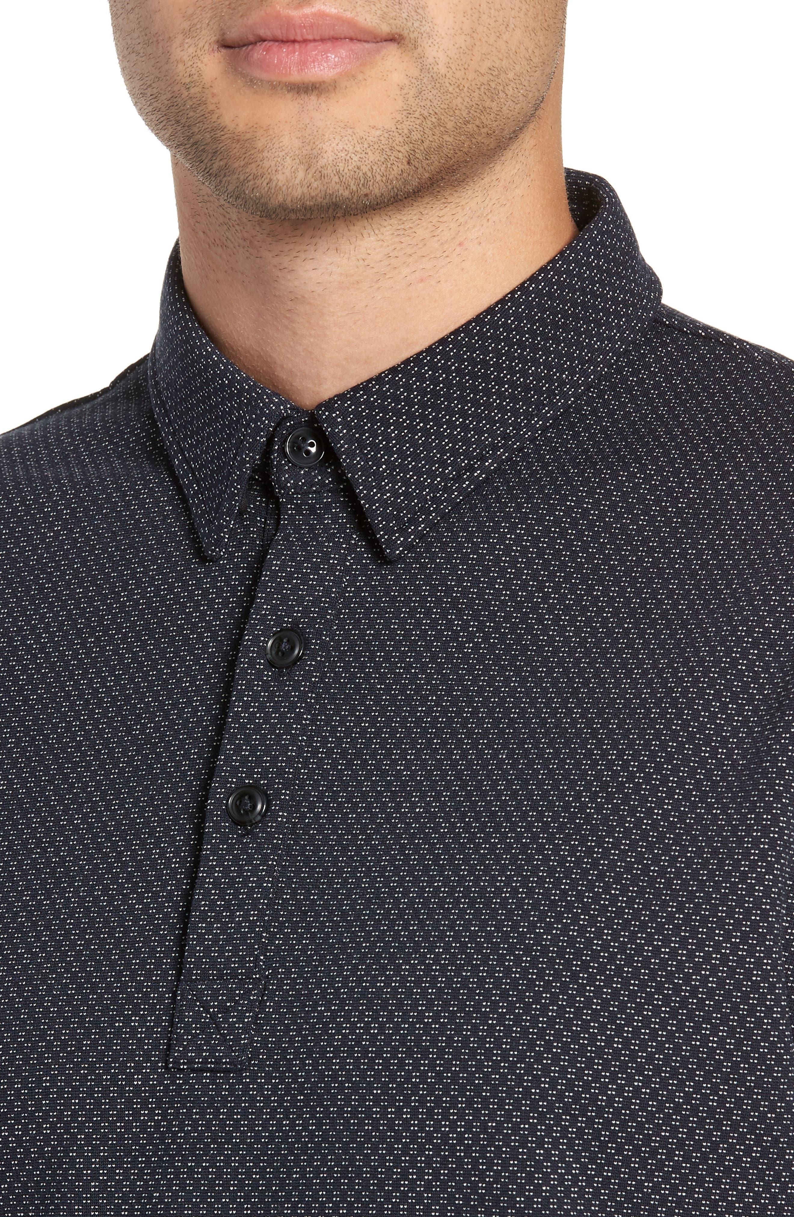 Trim Micro Foulard Polo Shirt,                             Alternate thumbnail 4, color,                             NAVY