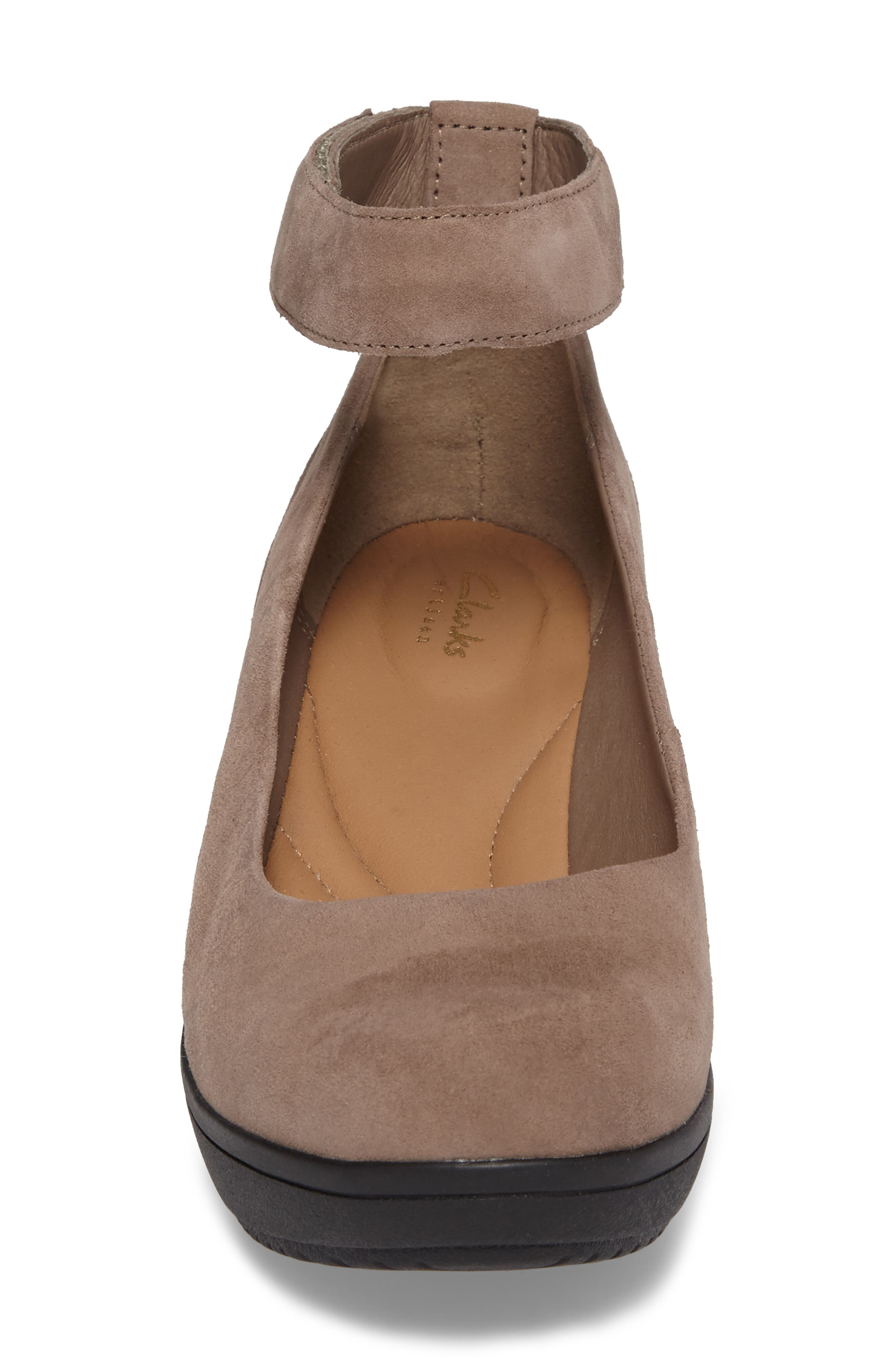 Wynnmere Fox Ankle Strap Pump,                             Alternate thumbnail 4, color,                             PEBBLE SUEDE