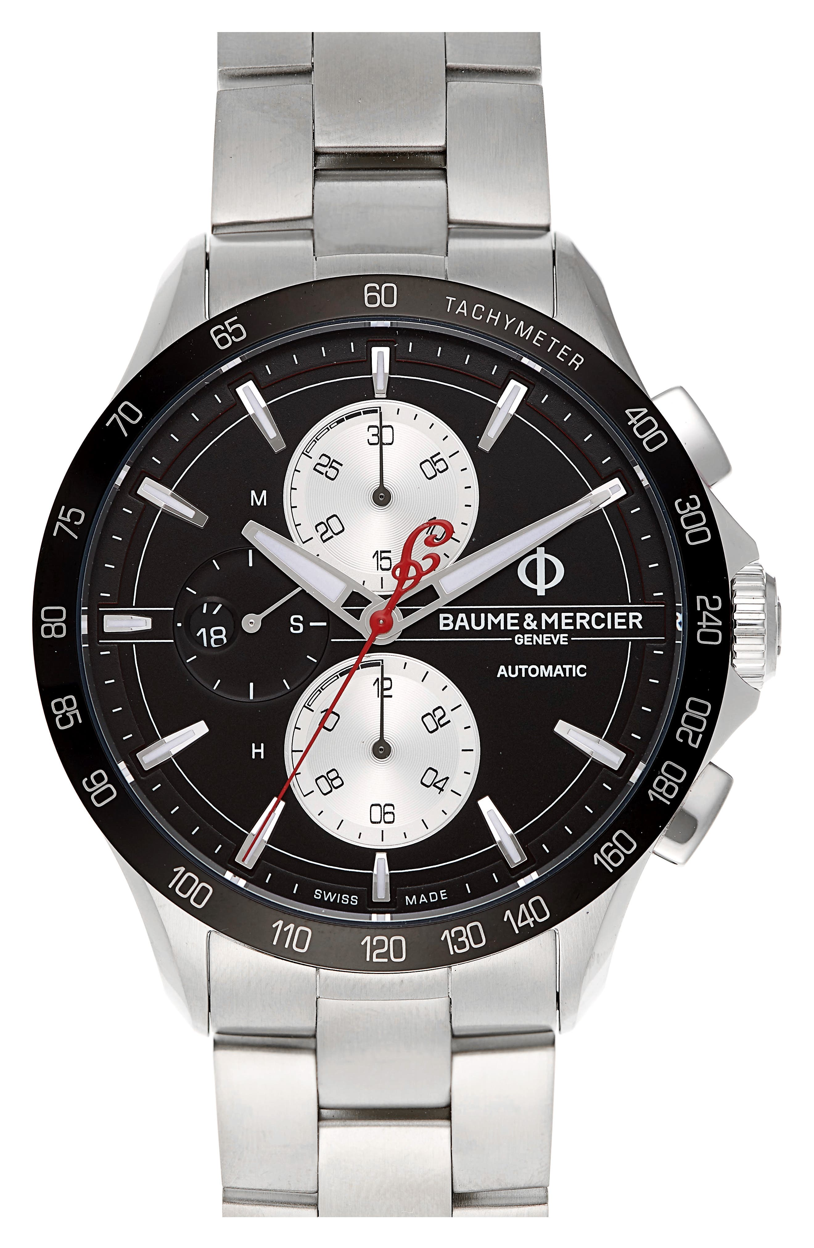Clifton Limited Edition Automatic Bracelet Watch, 44mm,                             Main thumbnail 1, color,                             BLACK/STEEL