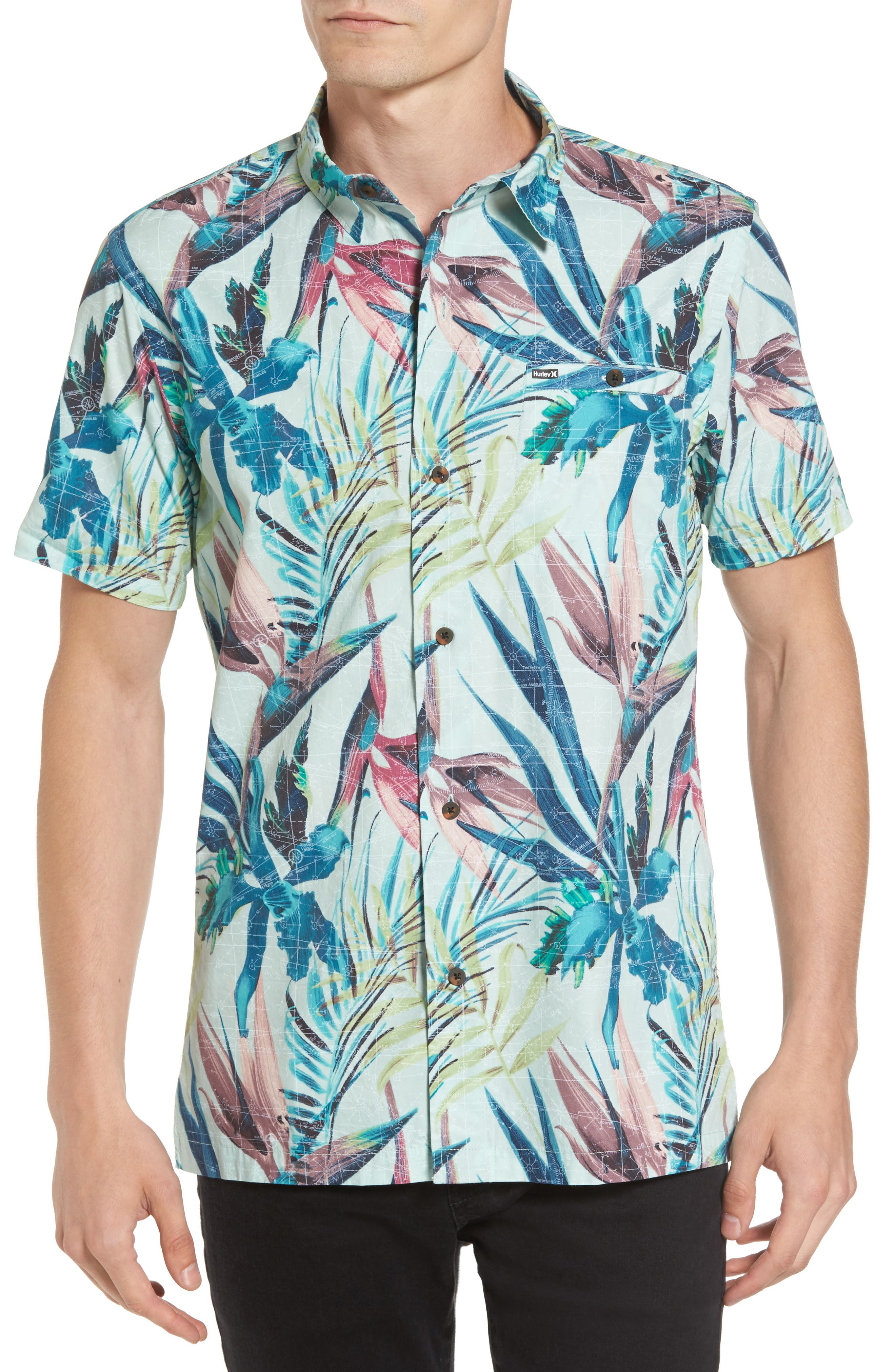 Maps Woven Shirt,                         Main,                         color, 001