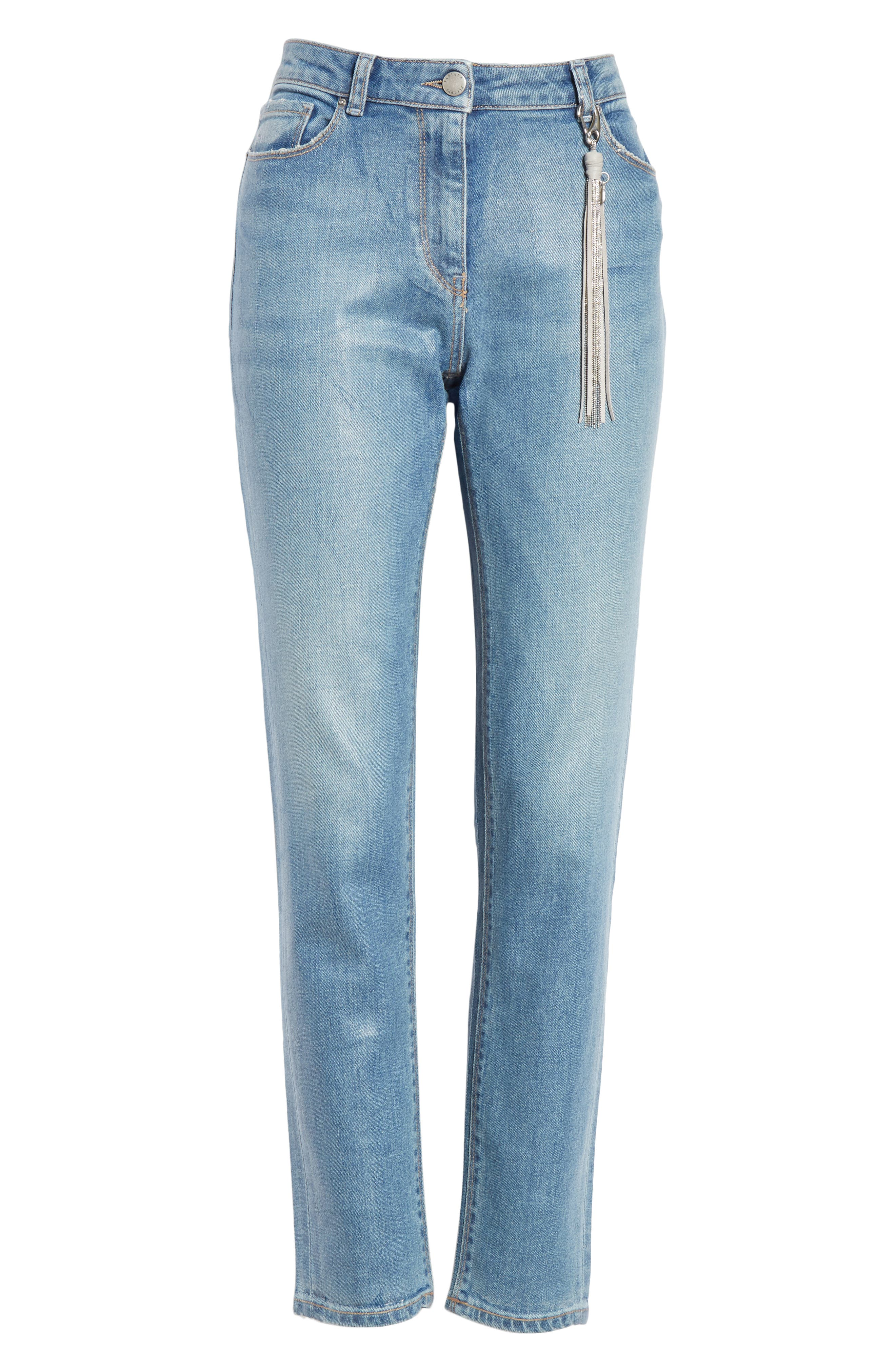 Coated Skinny Jeans with Tassel Charm,                             Alternate thumbnail 6, color,                             BLUE