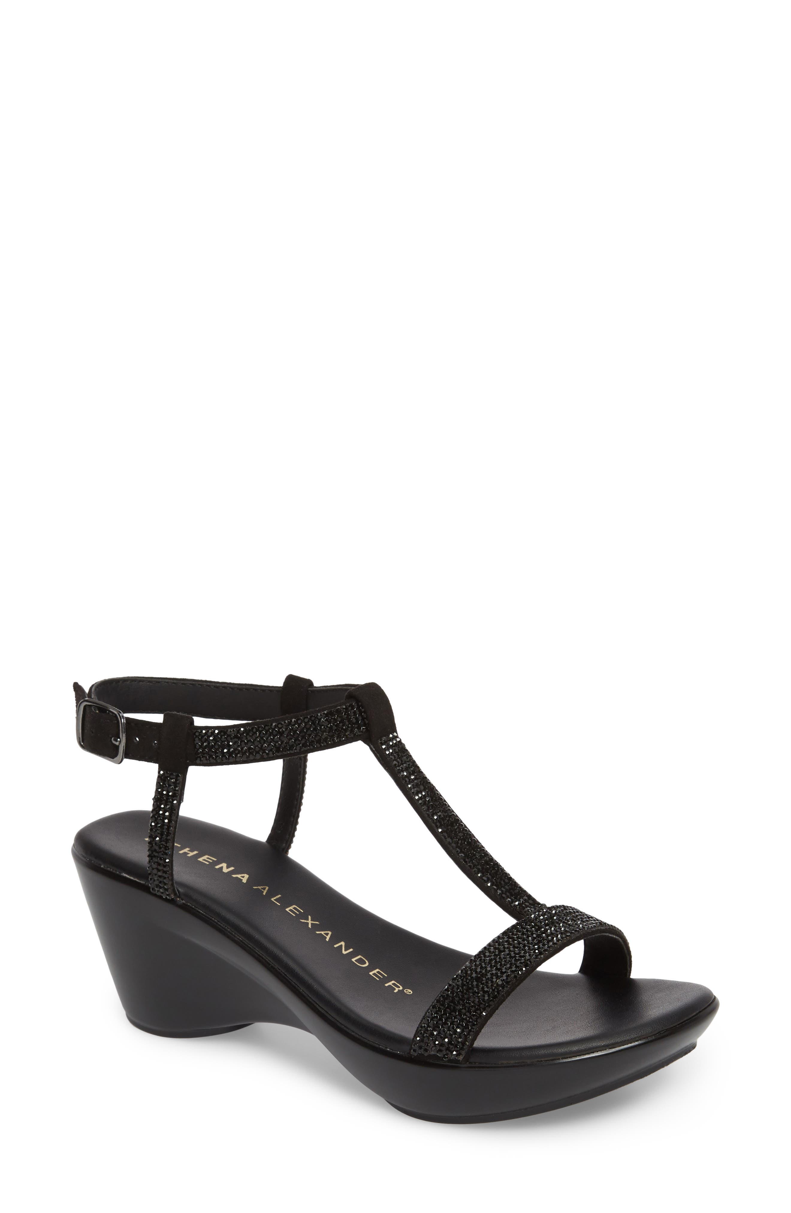 Athena Alexandar Karinya Embellished Strappy Wedge Sandal,                             Main thumbnail 1, color,                             BLACK SUEDE