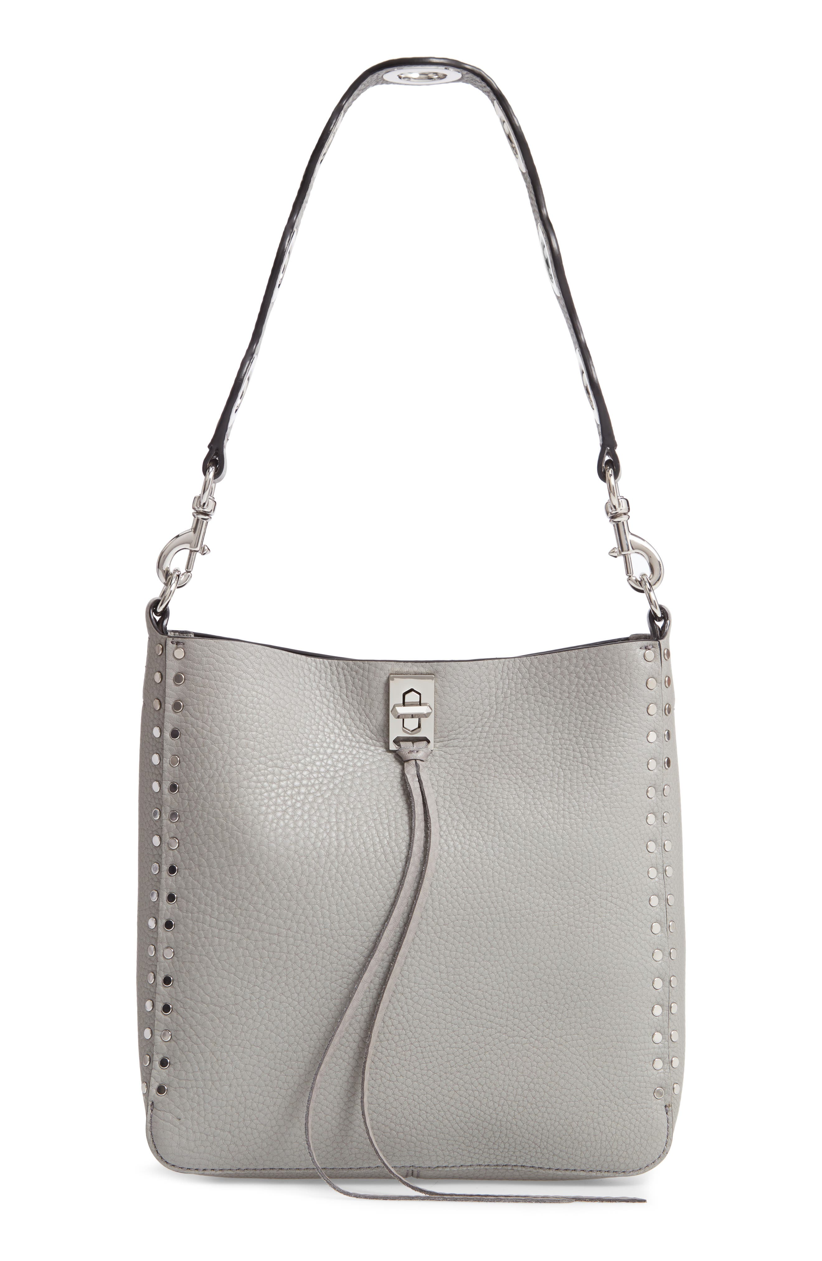 Small Studded Leather Feed Bag,                             Main thumbnail 1, color,                             GREY
