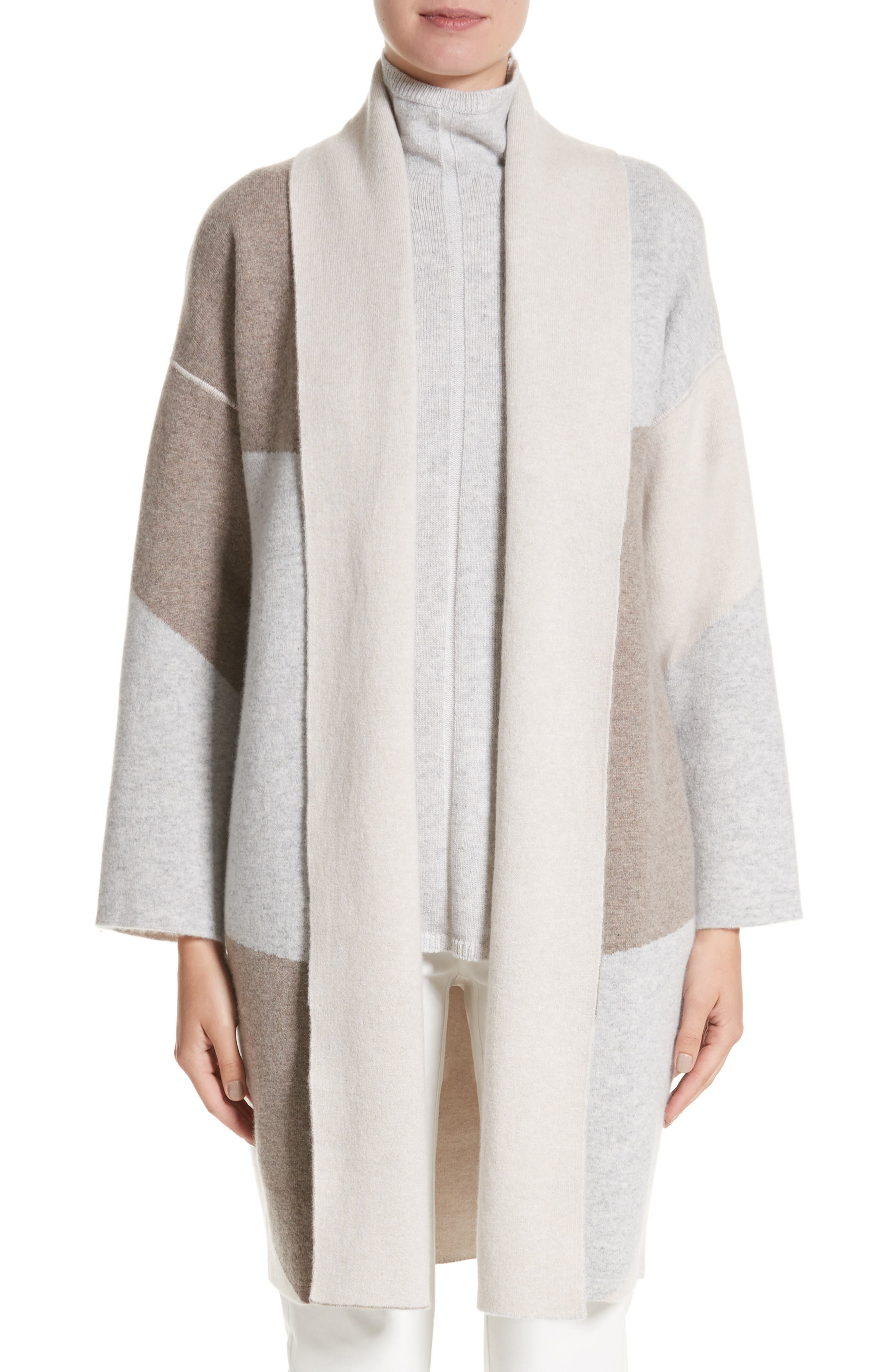 Stretch Cashmere Reversible Felted Colorblock Cardigan,                             Main thumbnail 1, color,                             020