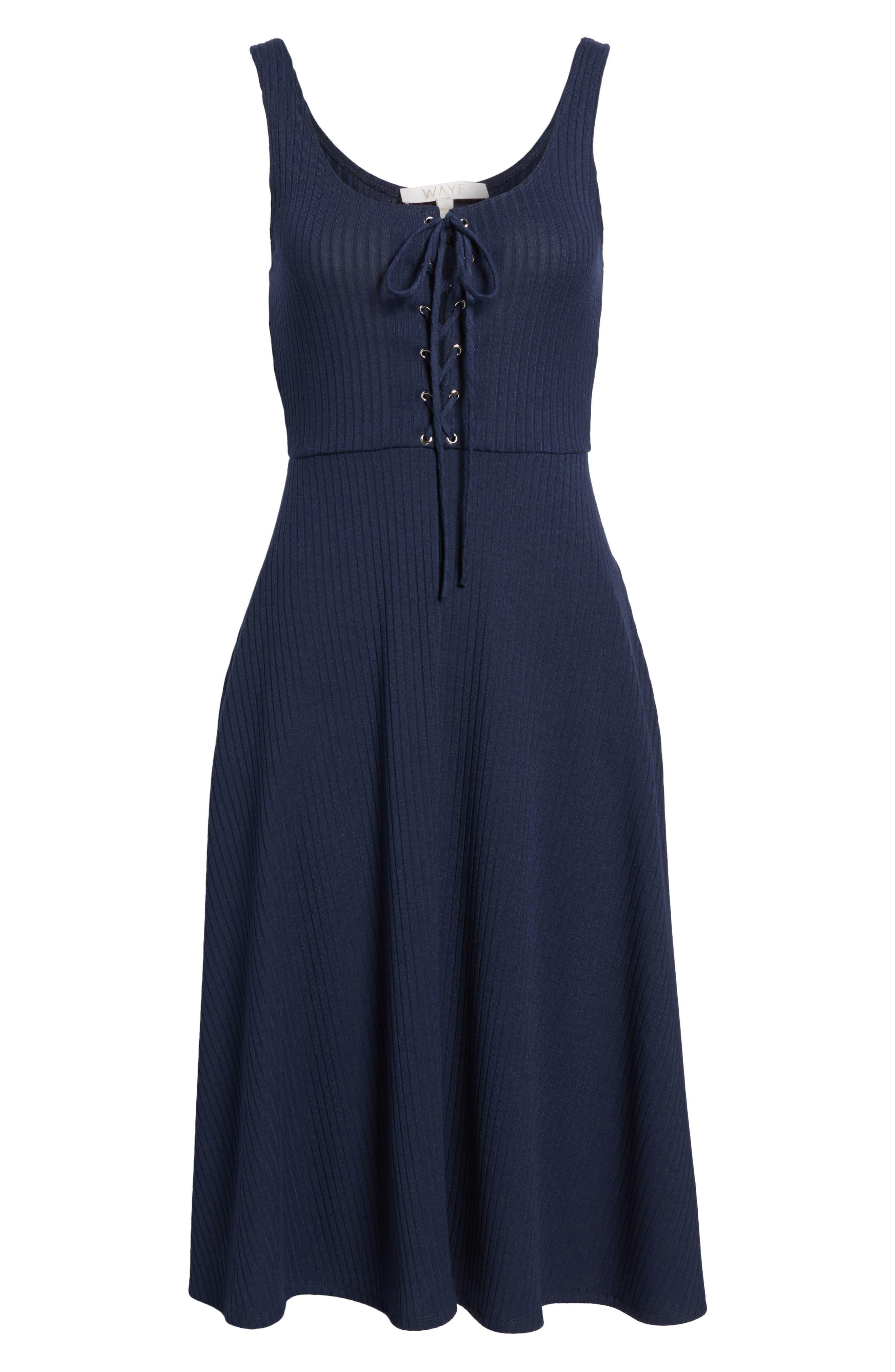 Fawn Lace-Up Midi Dress,                             Alternate thumbnail 6, color,                             400