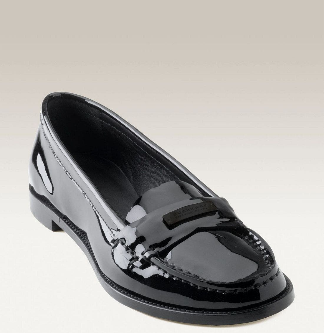 BURBERRY,                             Patent Leather Loafer,                             Main thumbnail 1, color,                             001