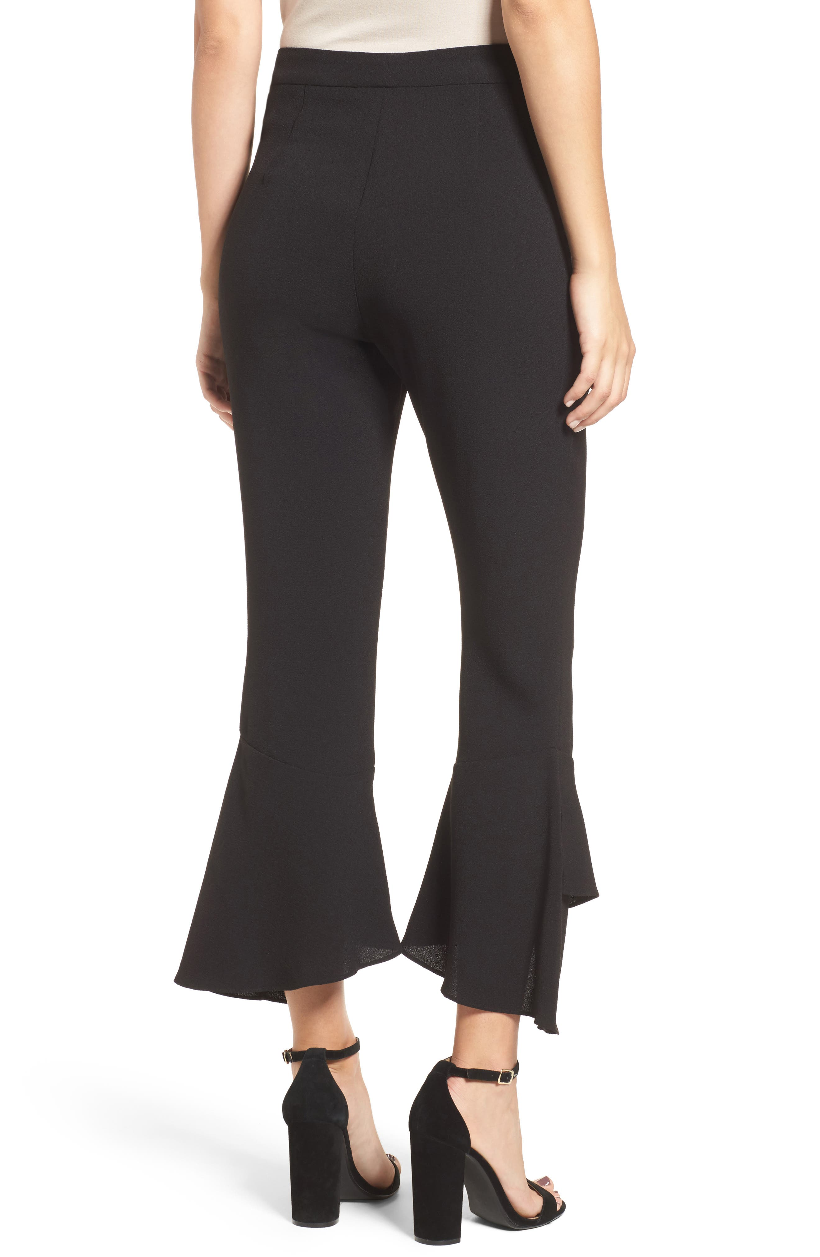 Gail Ruffle Hem Crop Pants,                             Alternate thumbnail 2, color,                             001