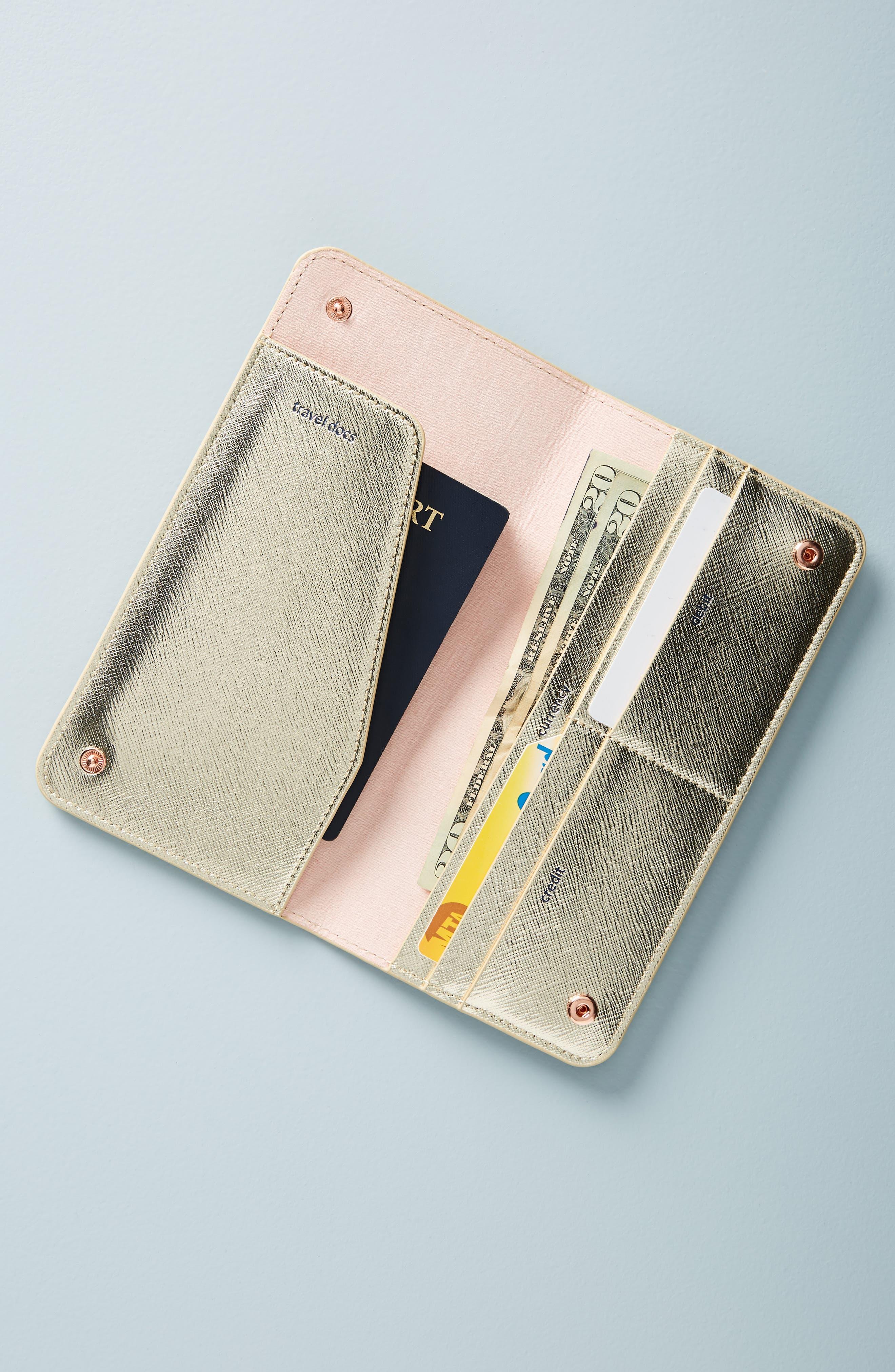 Celeste Travel Wallet,                             Alternate thumbnail 2, color,                             GOLD