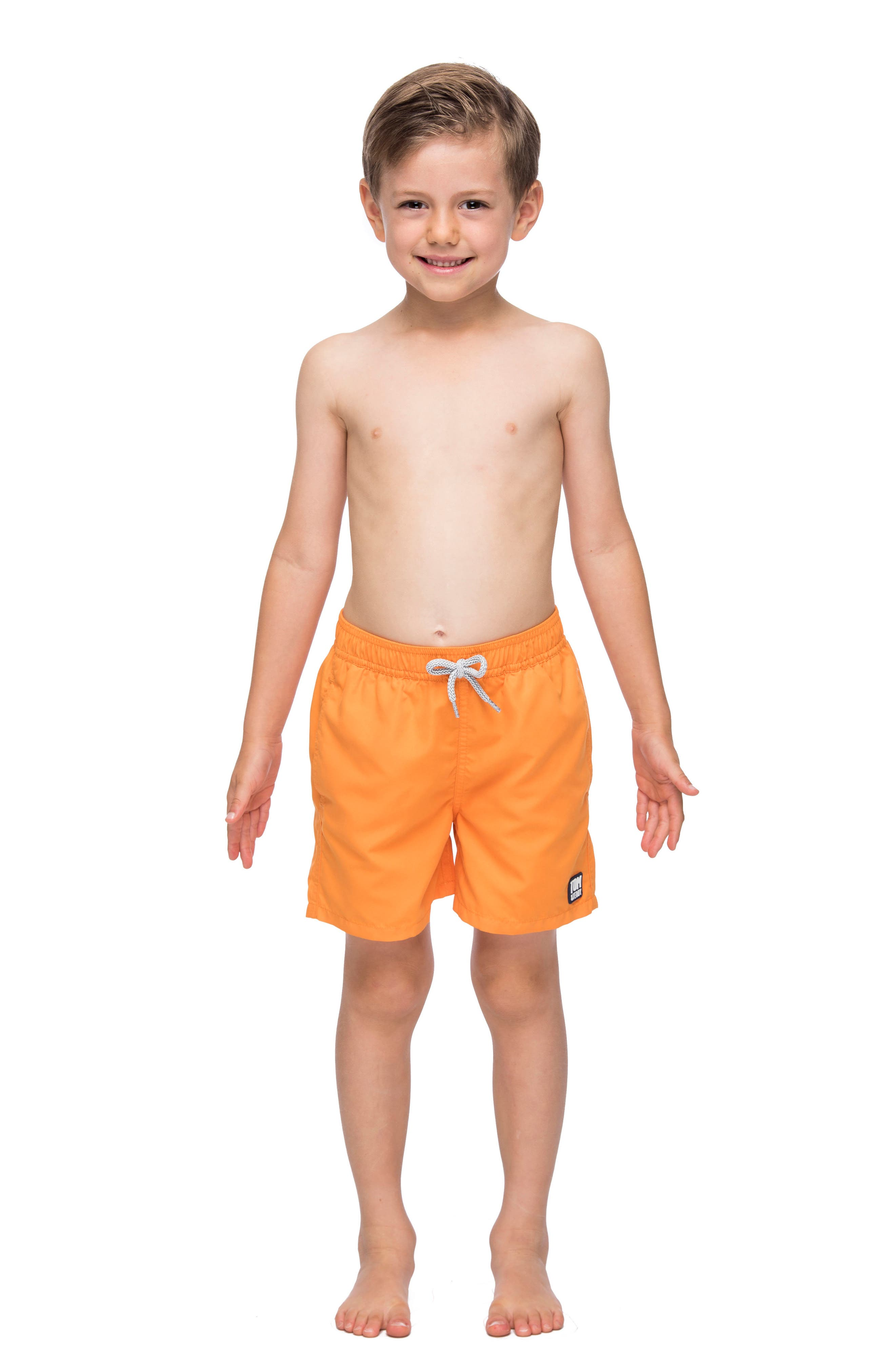 Solid Swim Trunks,                             Main thumbnail 1, color,                             BAKED ORANGE