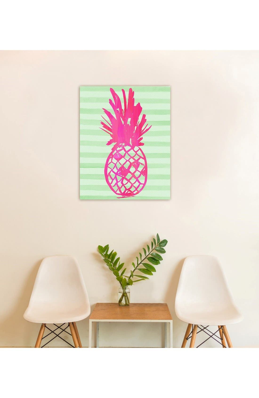 'Pink Pineapple' Hand Stretched Canvas Wall Art,                             Alternate thumbnail 2, color,                             650