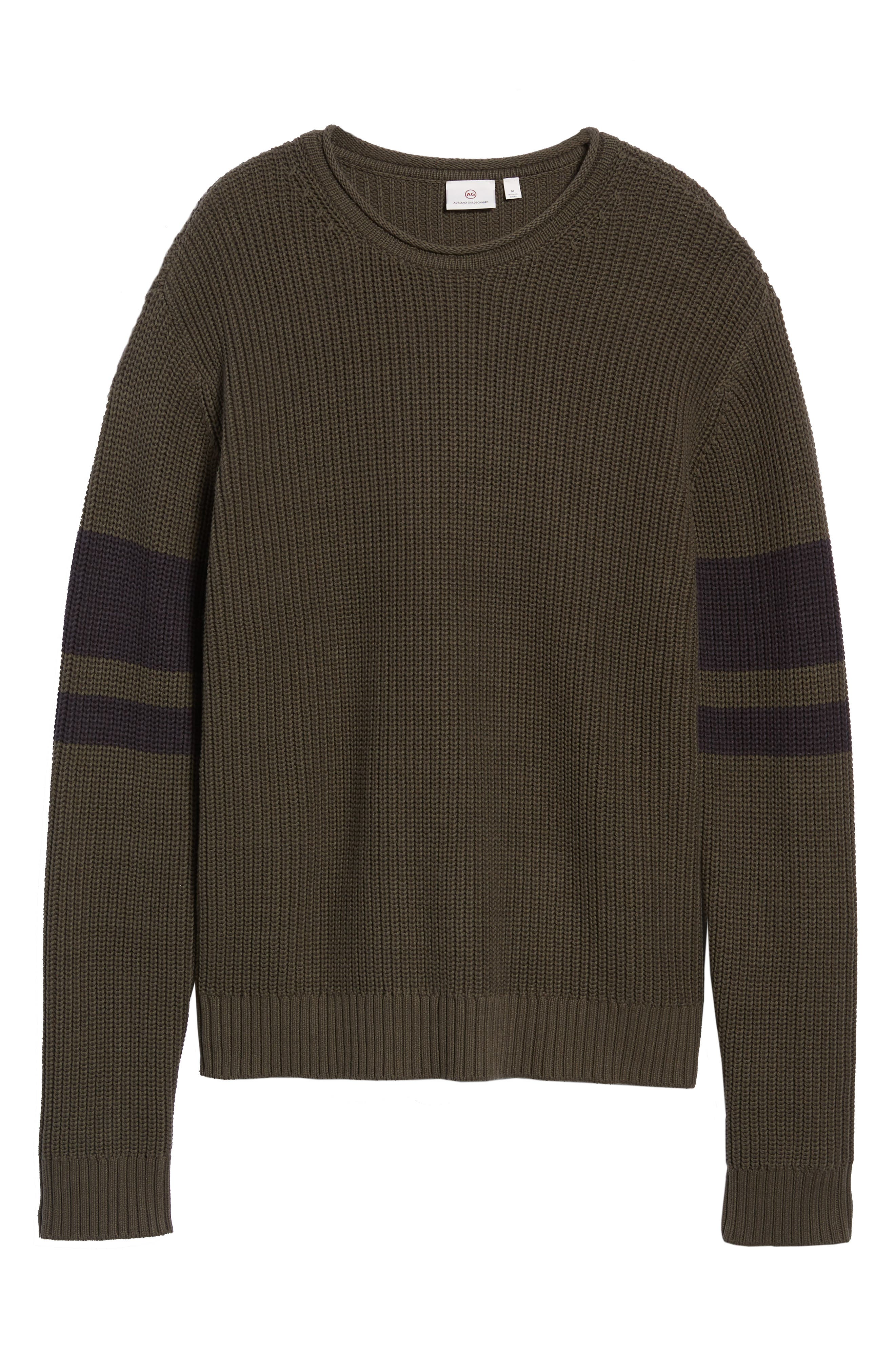 Jett Slim Fit Crewneck Sweater,                             Alternate thumbnail 6, color,                             OAK GROVE/ BLACK