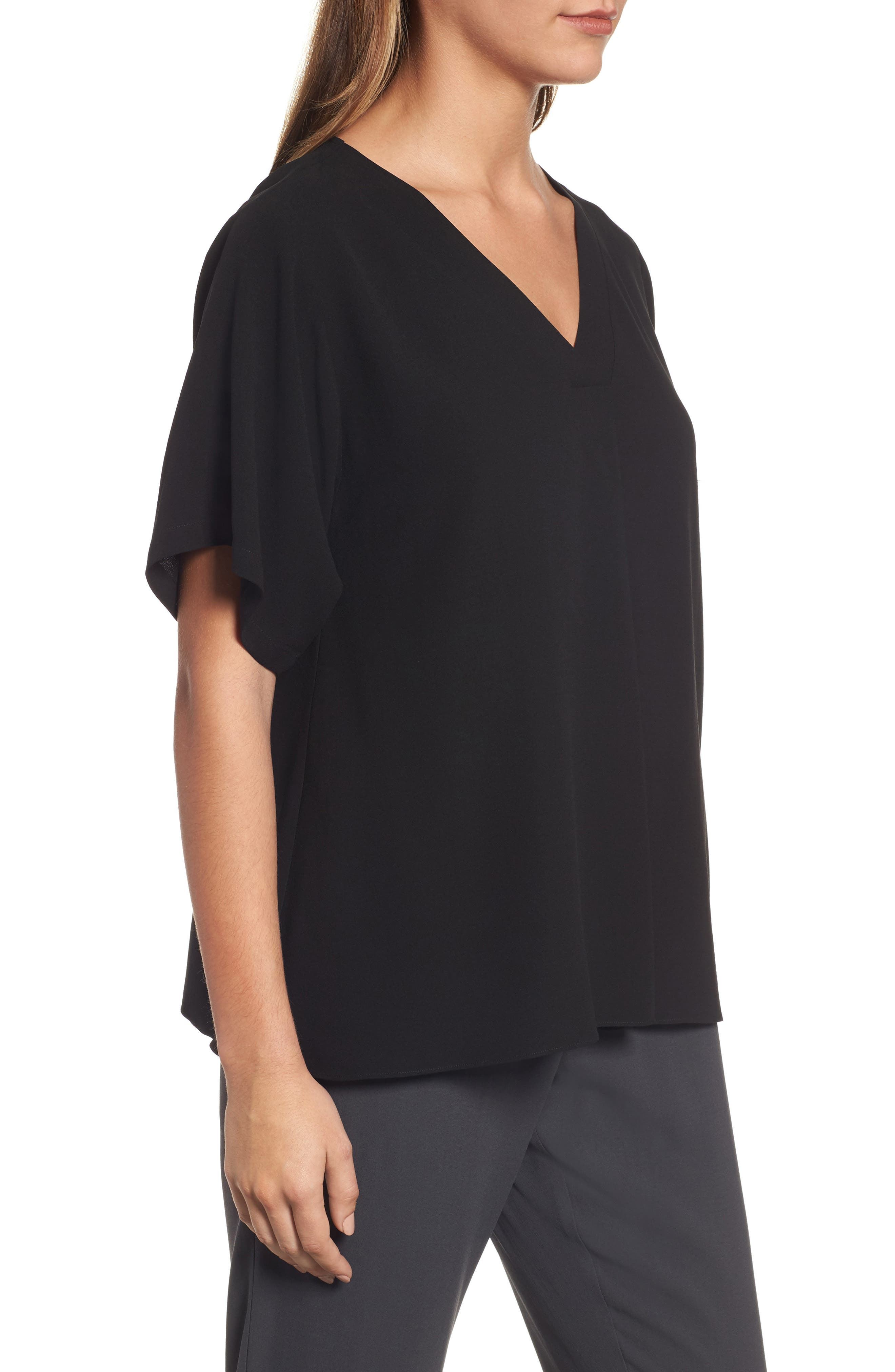Silk V-Neck Top,                             Alternate thumbnail 3, color,                             001