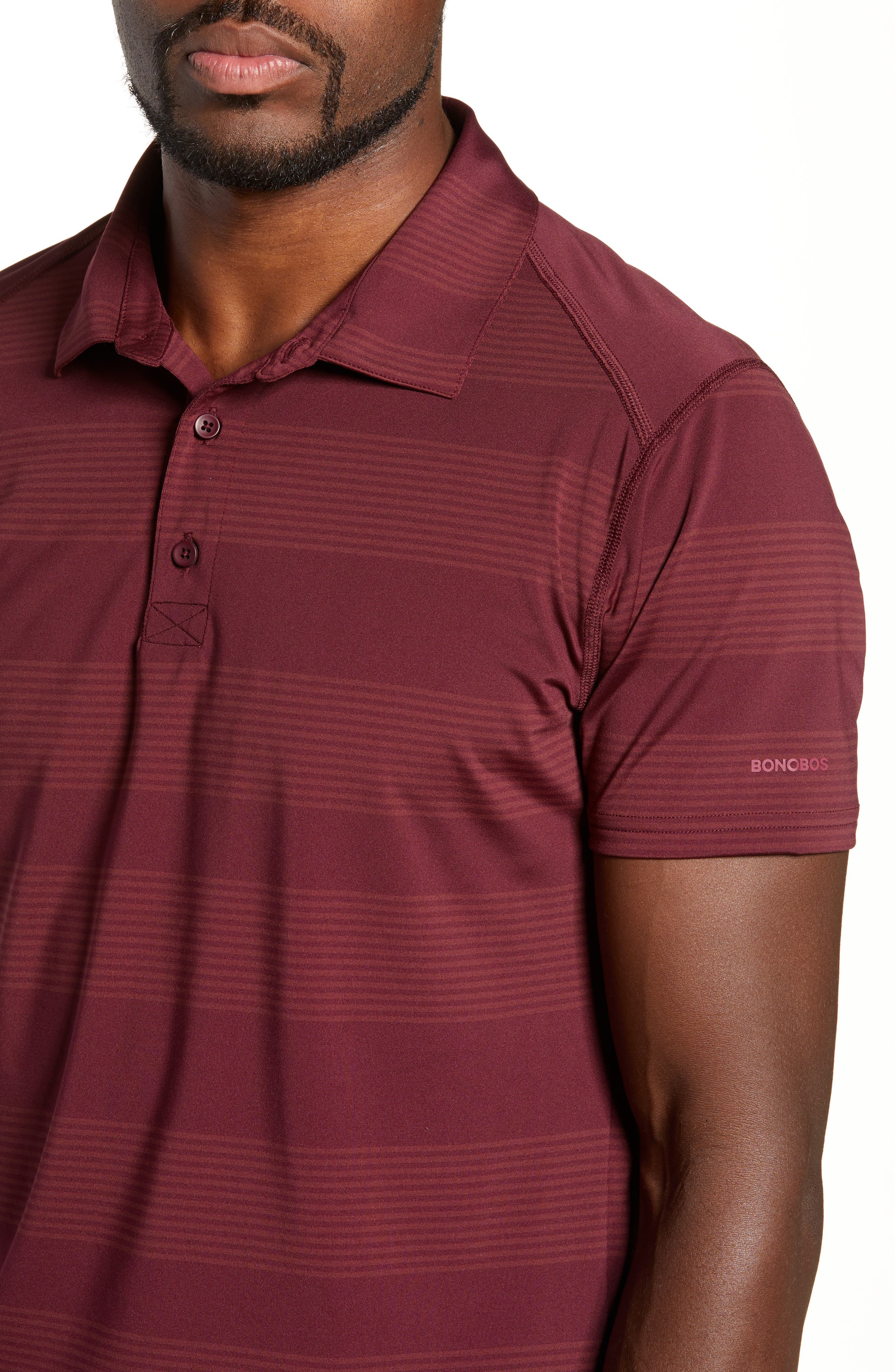 BONOBOS,                             Flatiron Slim Fit Stripe Golf Polo,                             Alternate thumbnail 4, color,                             600