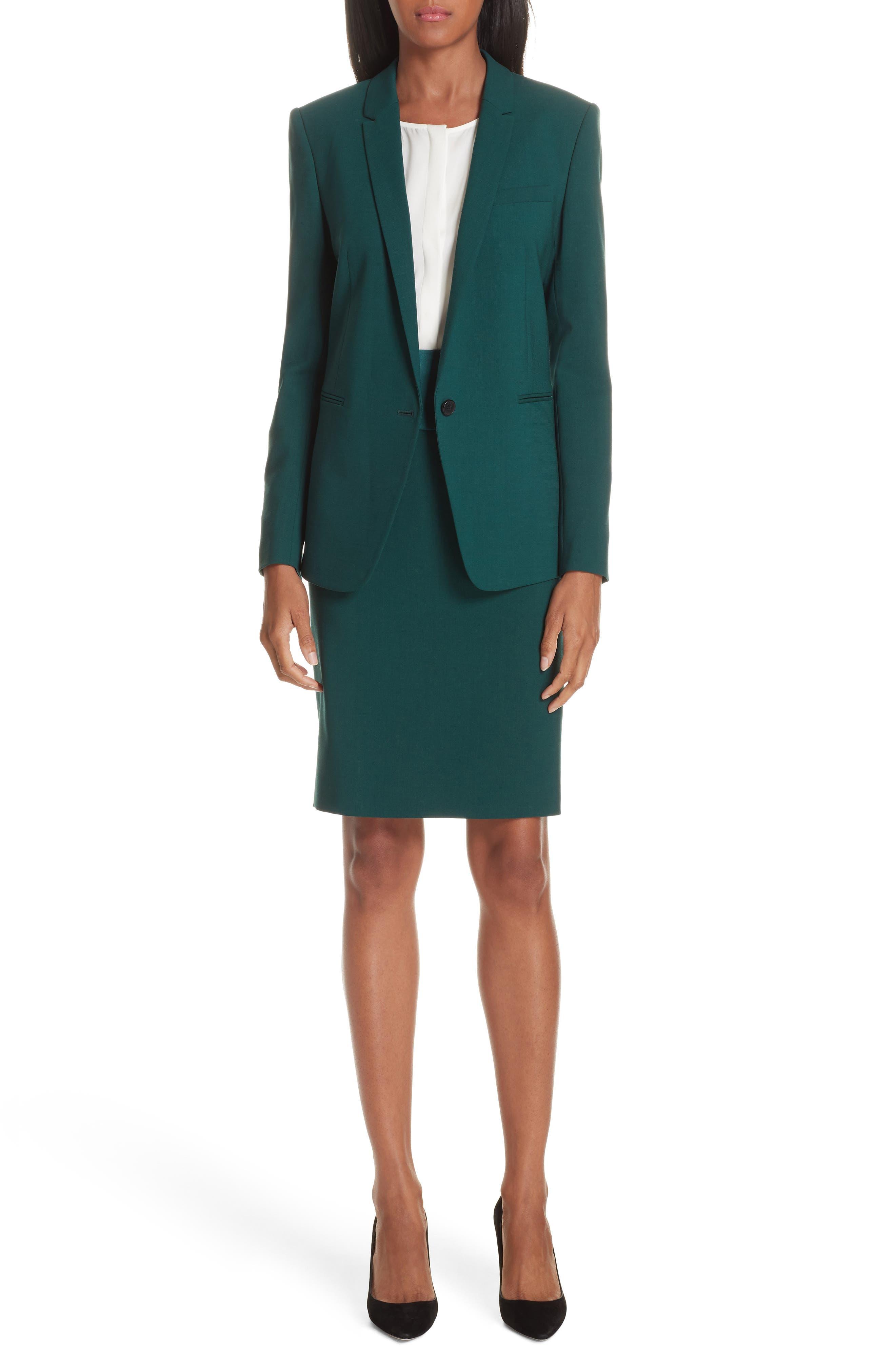 Vanufa Stretch Wool Suit Skirt,                             Alternate thumbnail 7, color,                             PINE GREEN
