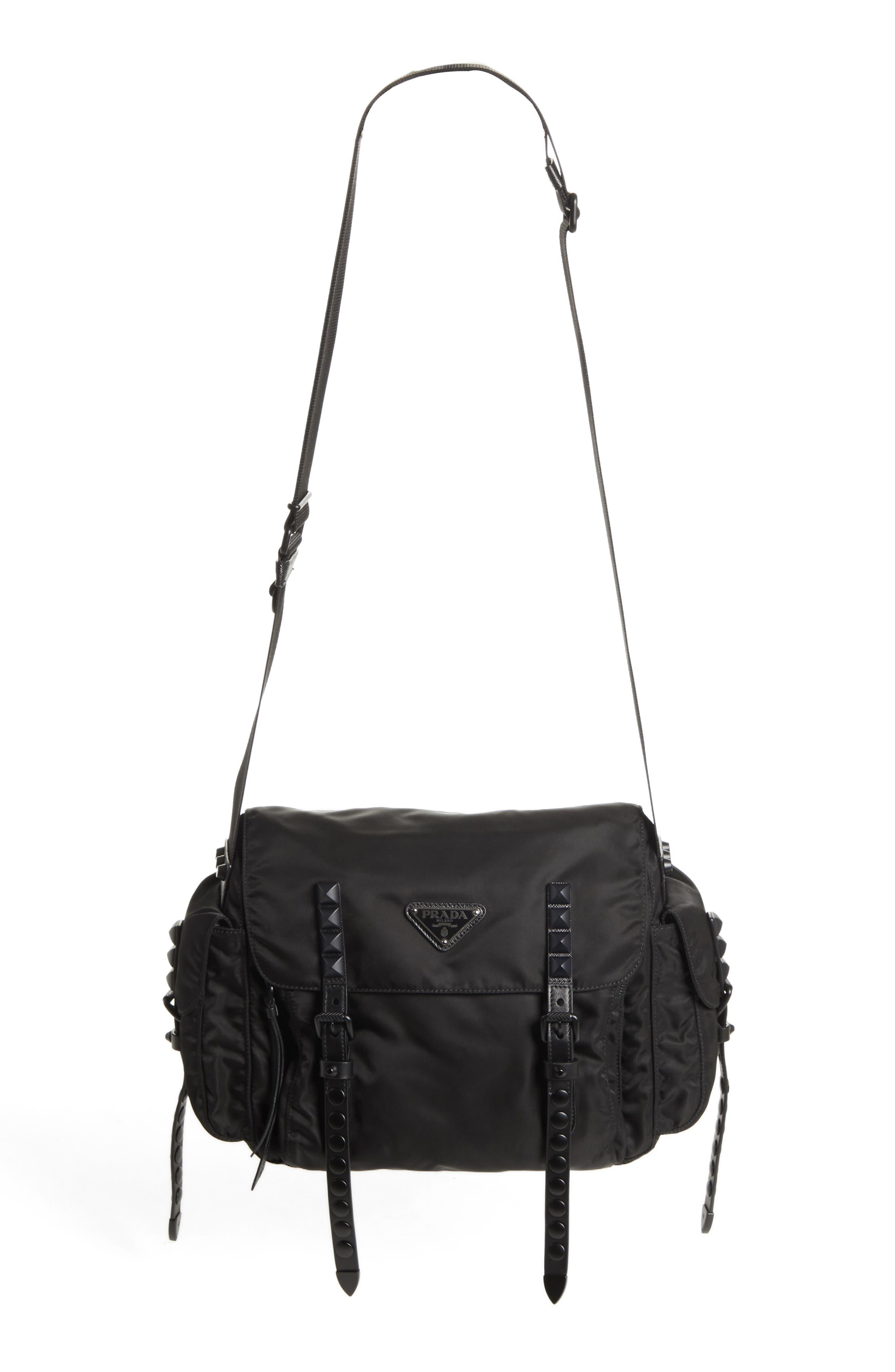 Studded Nylon Messenger Bag,                             Alternate thumbnail 2, color,                             002