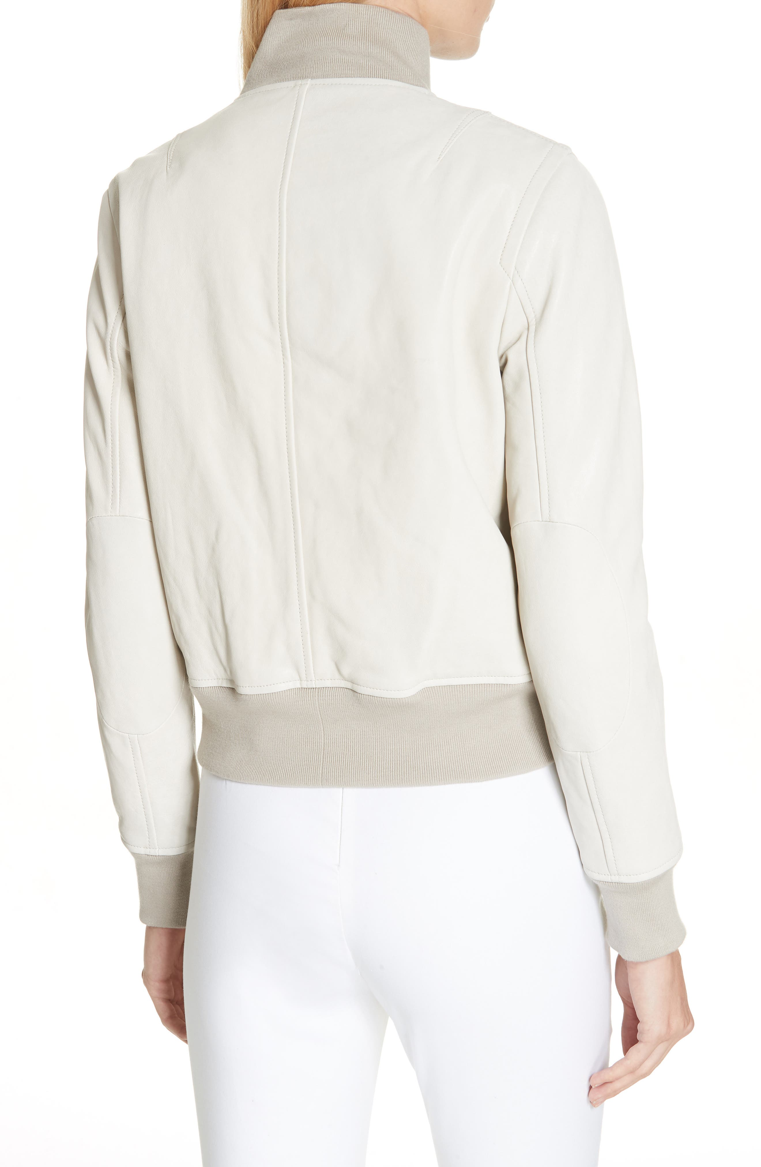 Mila Lambskin Leather Jacket,                             Alternate thumbnail 2, color,                             IVORY