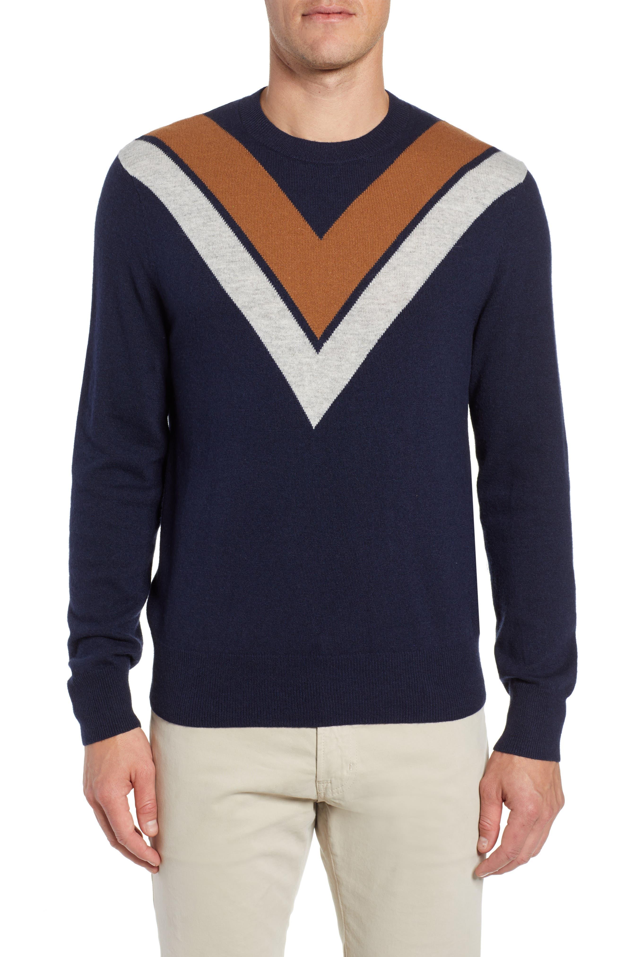 Minton V Crewneck Sweater,                             Main thumbnail 1, color,                             DARK NAVY/ LHN/ BURNT SUGAR