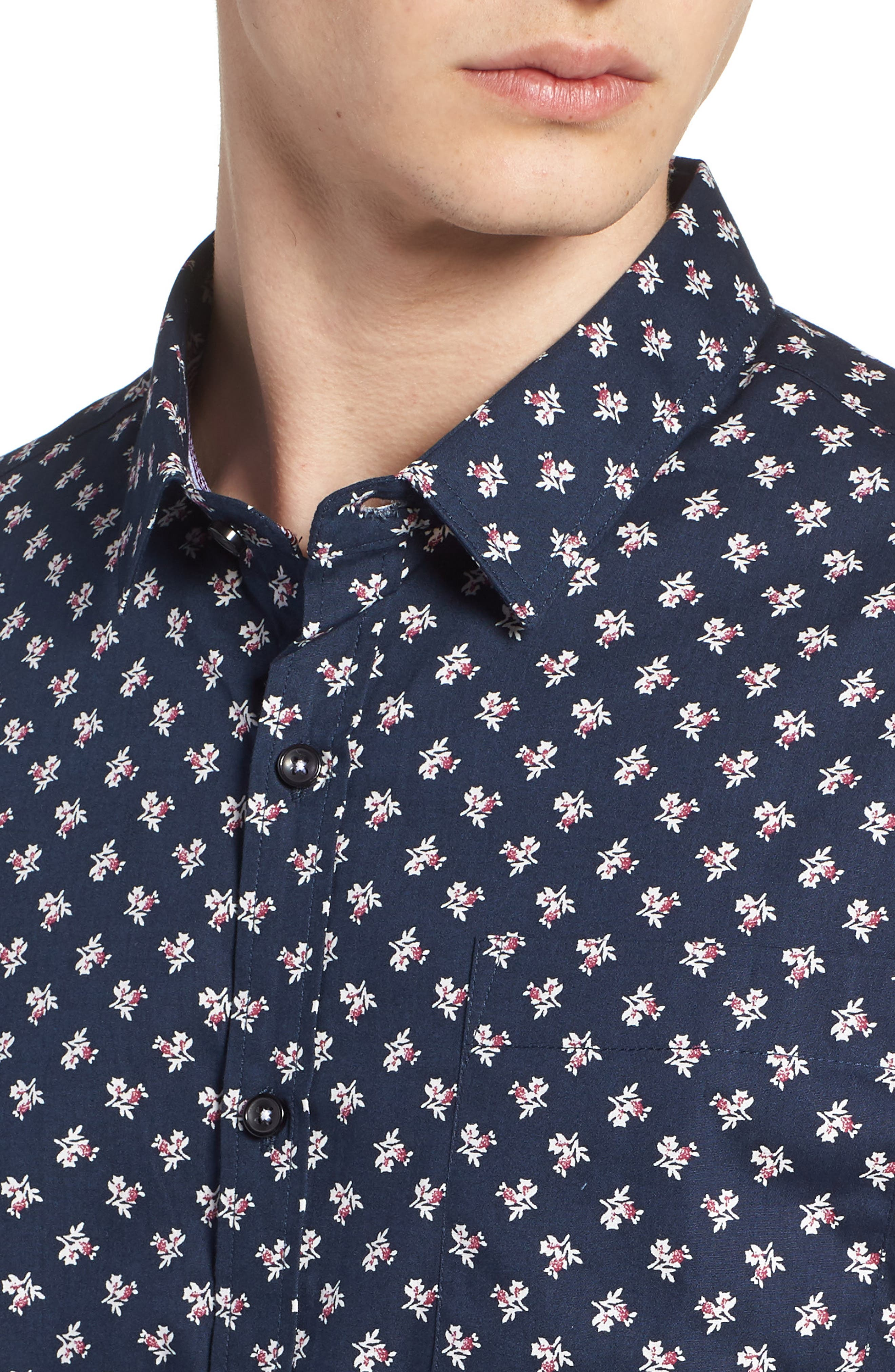 'Crossfire' Floral Print Short Sleeve Woven Shirt,                             Alternate thumbnail 7, color,