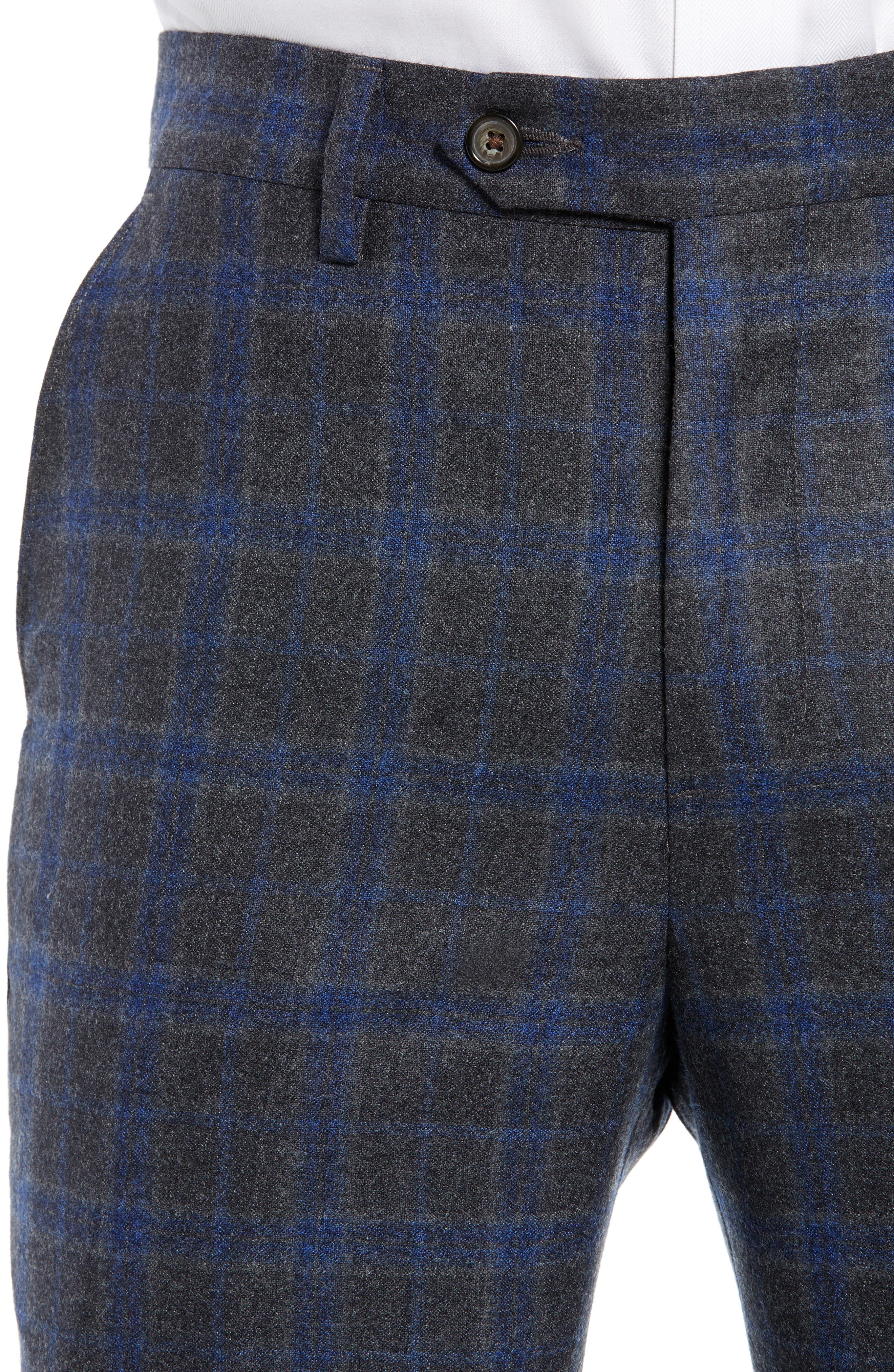 Manufacturing Flat Front Plaid Wool Trousers,                             Alternate thumbnail 4, color,                             021