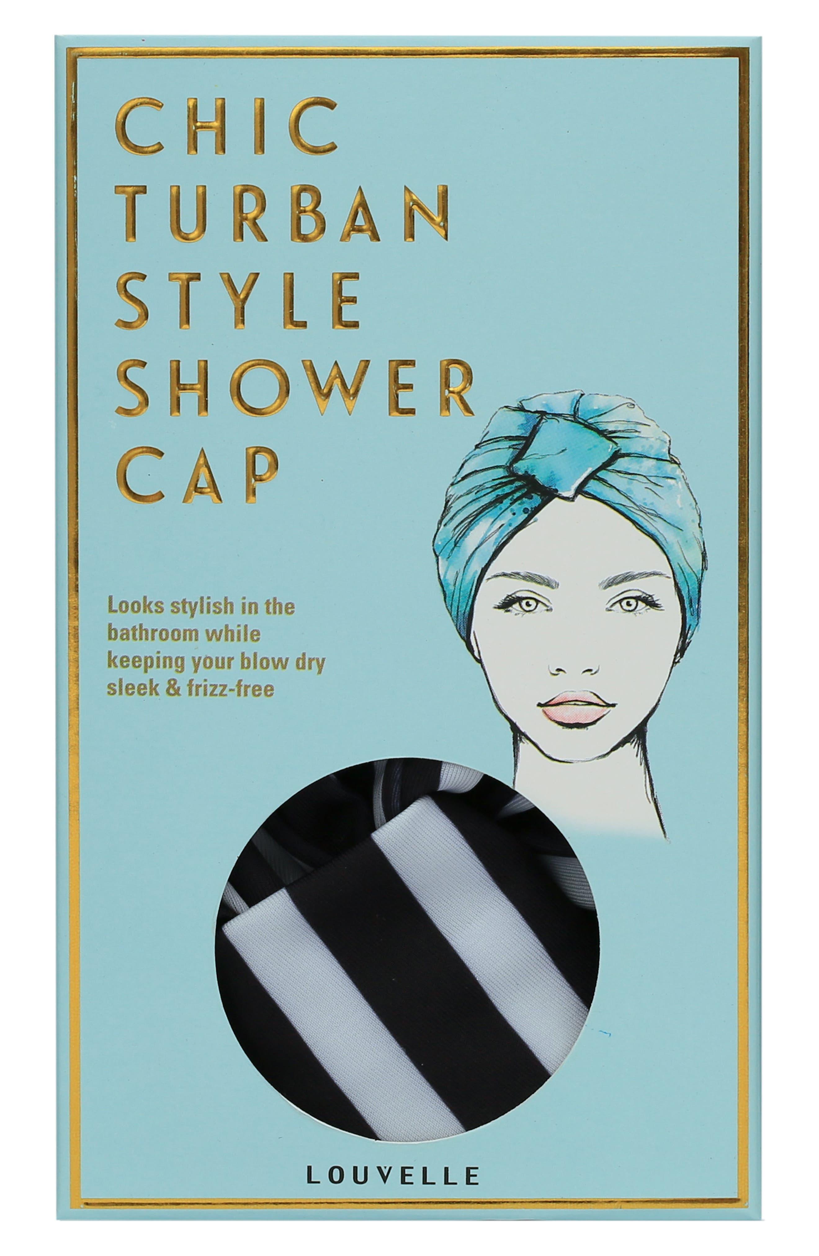 Amelie Turban Shower Cap,                             Alternate thumbnail 2, color,                             MONOCHROME STRIPE