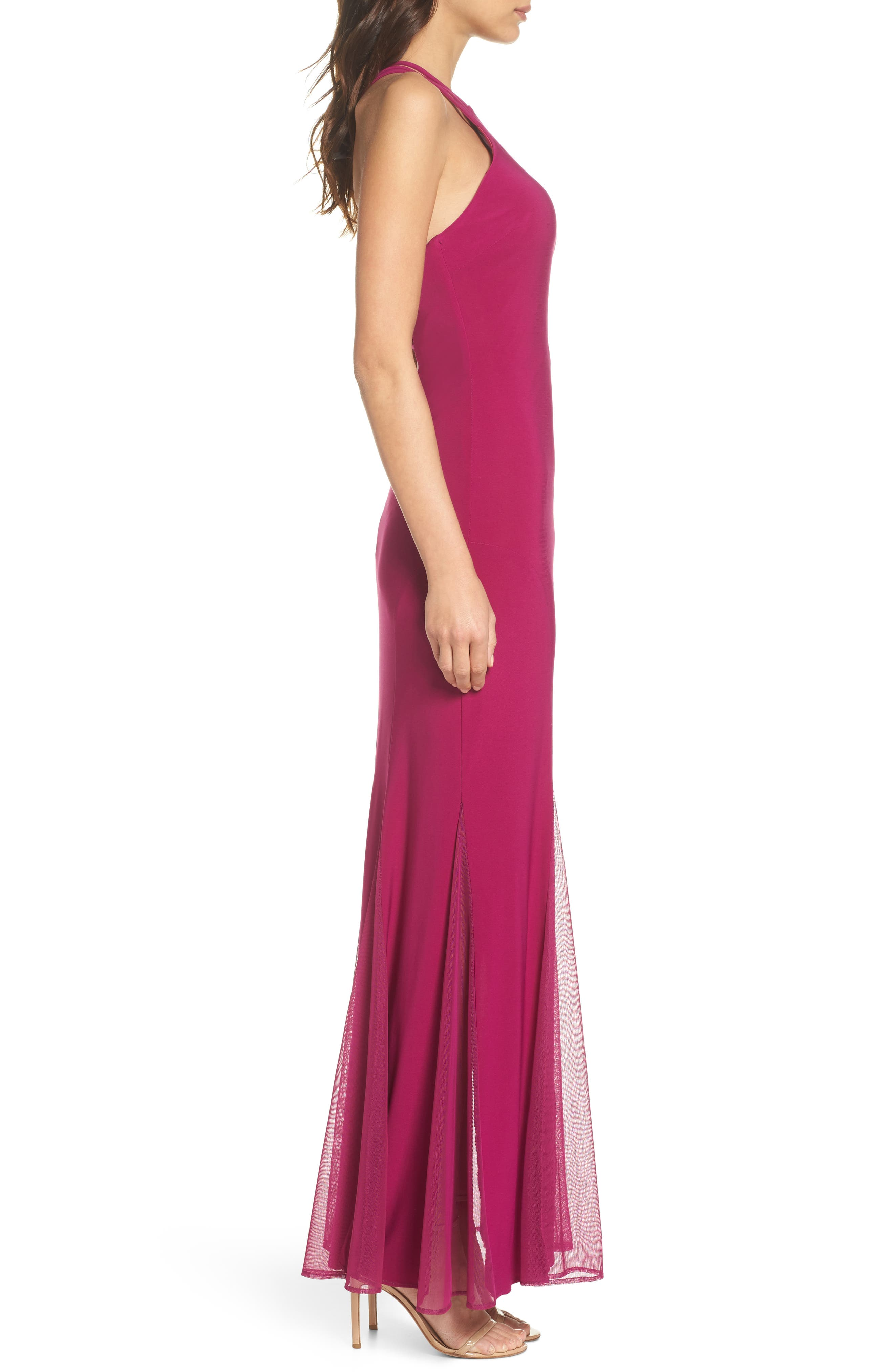 Strappy Back Trumpet Gown,                             Alternate thumbnail 3, color,                             BERRY