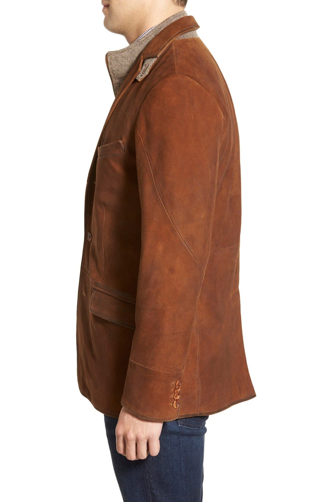 Classic Fit Distressed Leather Hybrid Coat,                             Alternate thumbnail 9, color,                             BROWN