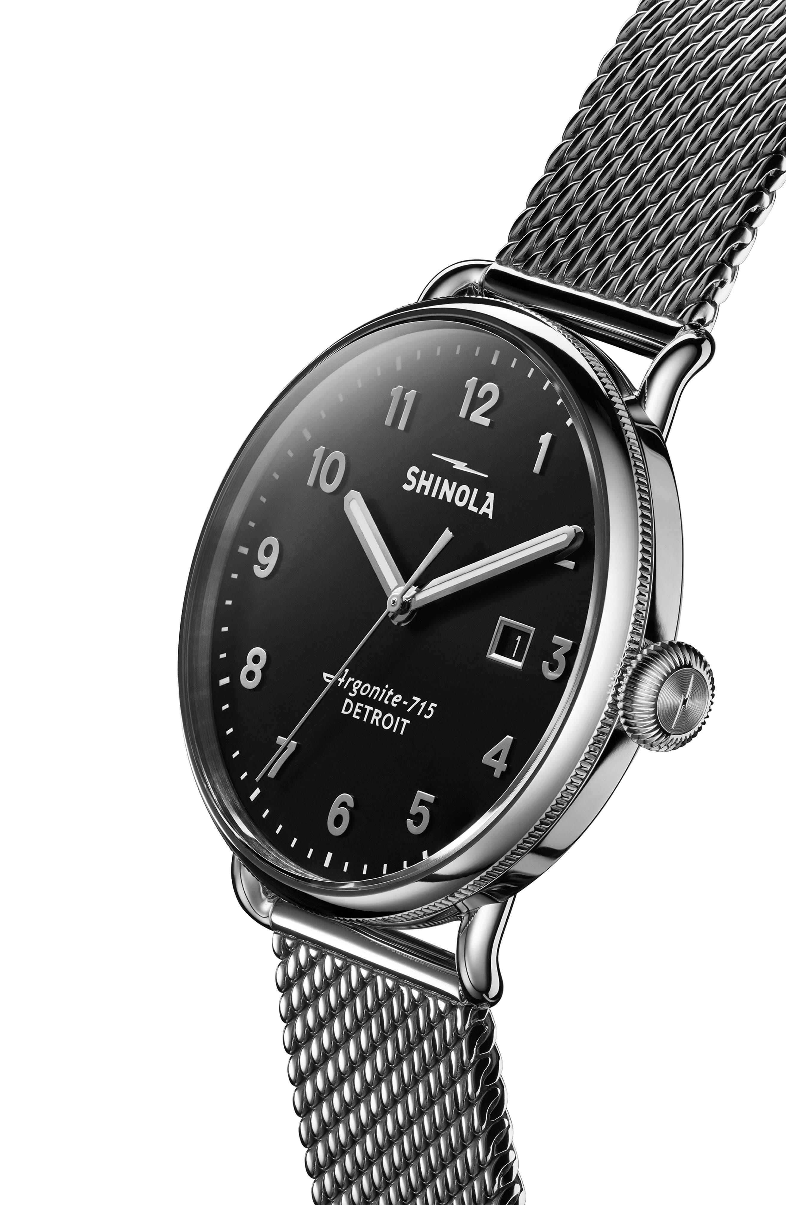 The Canfield Mesh Bracelet Watch, 43mm,                             Alternate thumbnail 4, color,                             GUNMETAL/ BLACK/ GUNMETAL