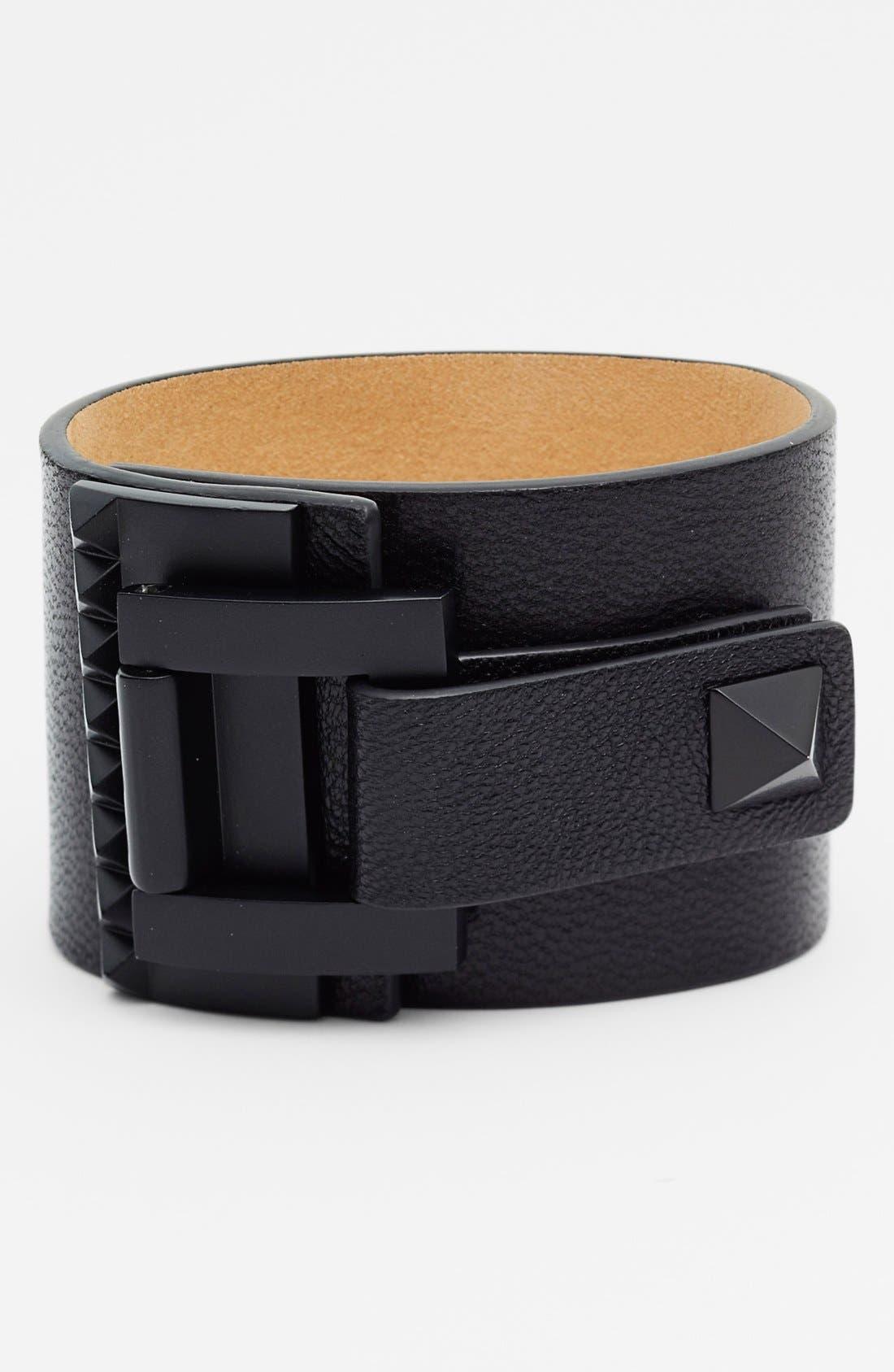 'Tour of Duty' Studded Buckle Wrap Bracelet,                         Main,                         color, 001