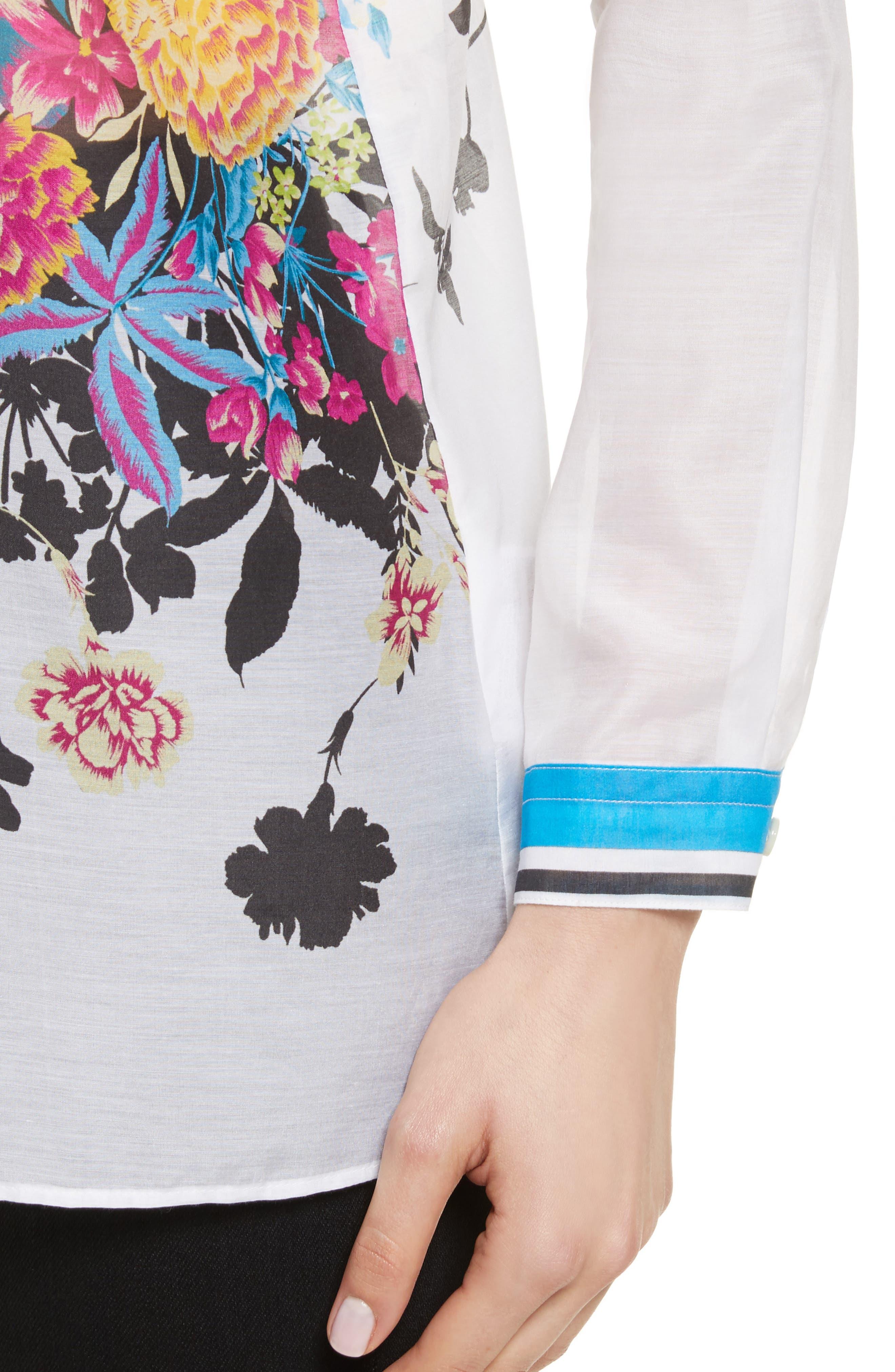 Floral Print Cotton & Silk Blouse,                             Alternate thumbnail 4, color,                             100