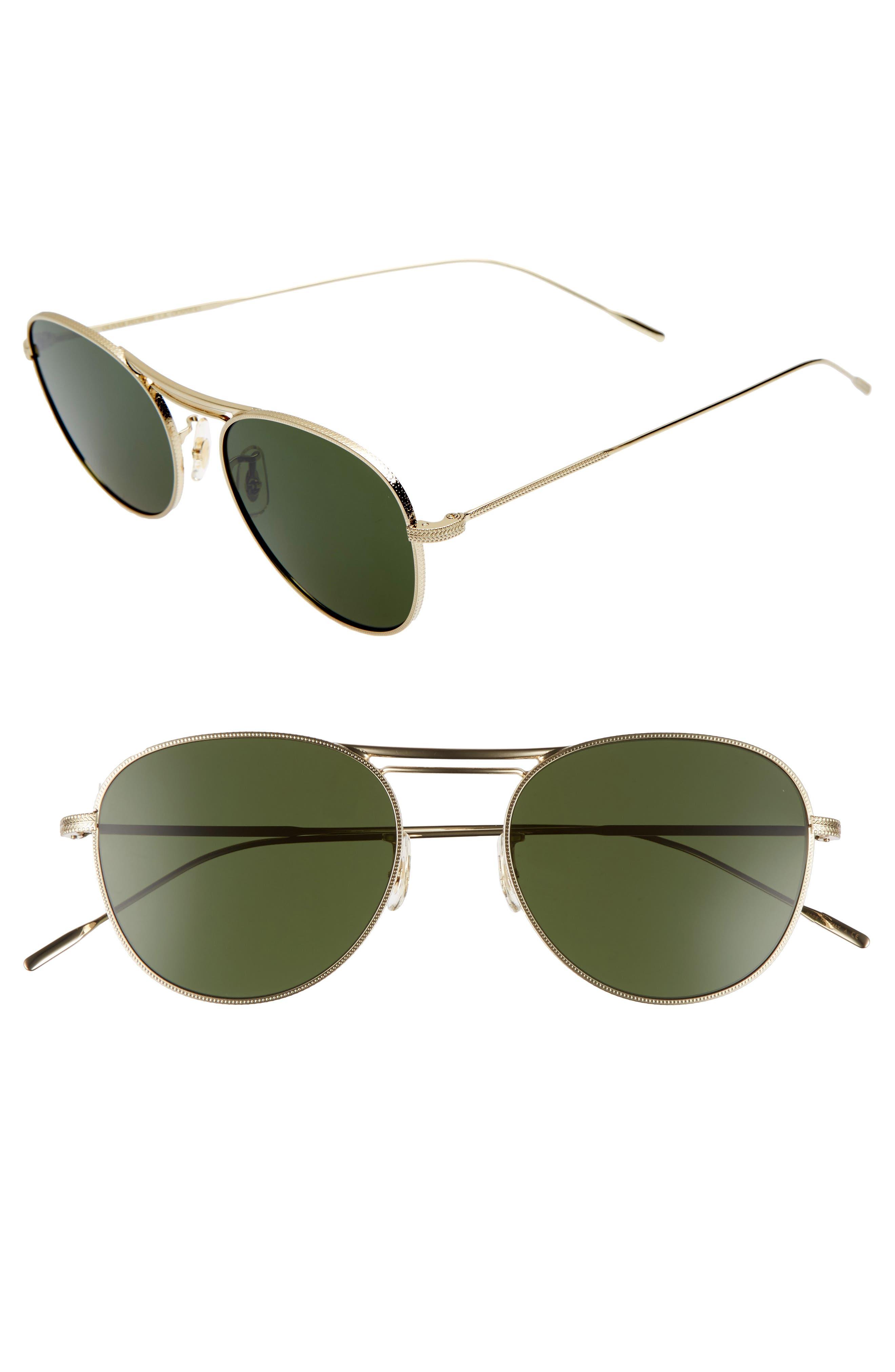 Cade 52mm Mirror Lens Aviator Sunglasses,                         Main,                         color, GOLD/ GREEN
