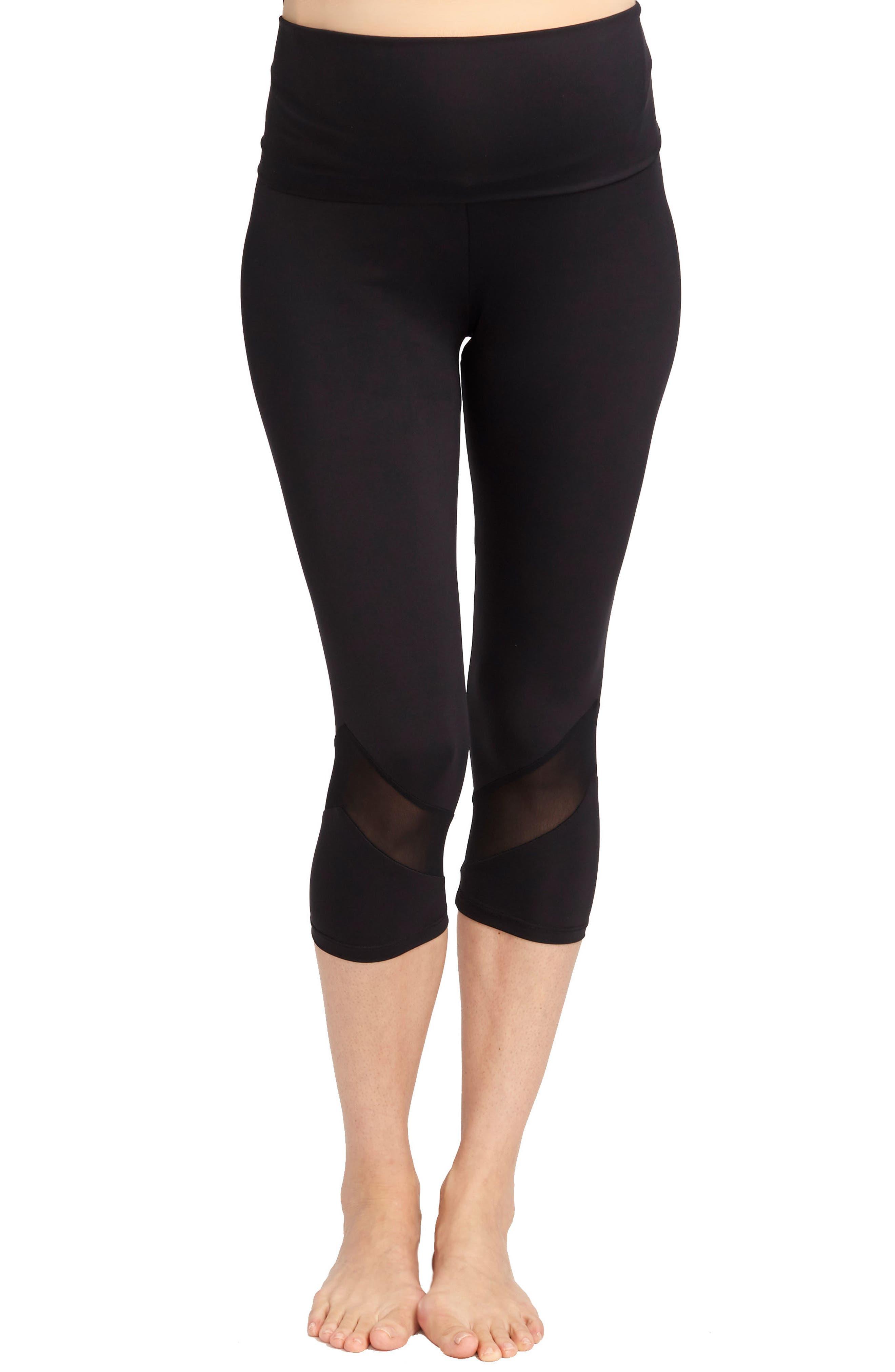 Candace Crop Maternity Leggings,                         Main,                         color, BLACK