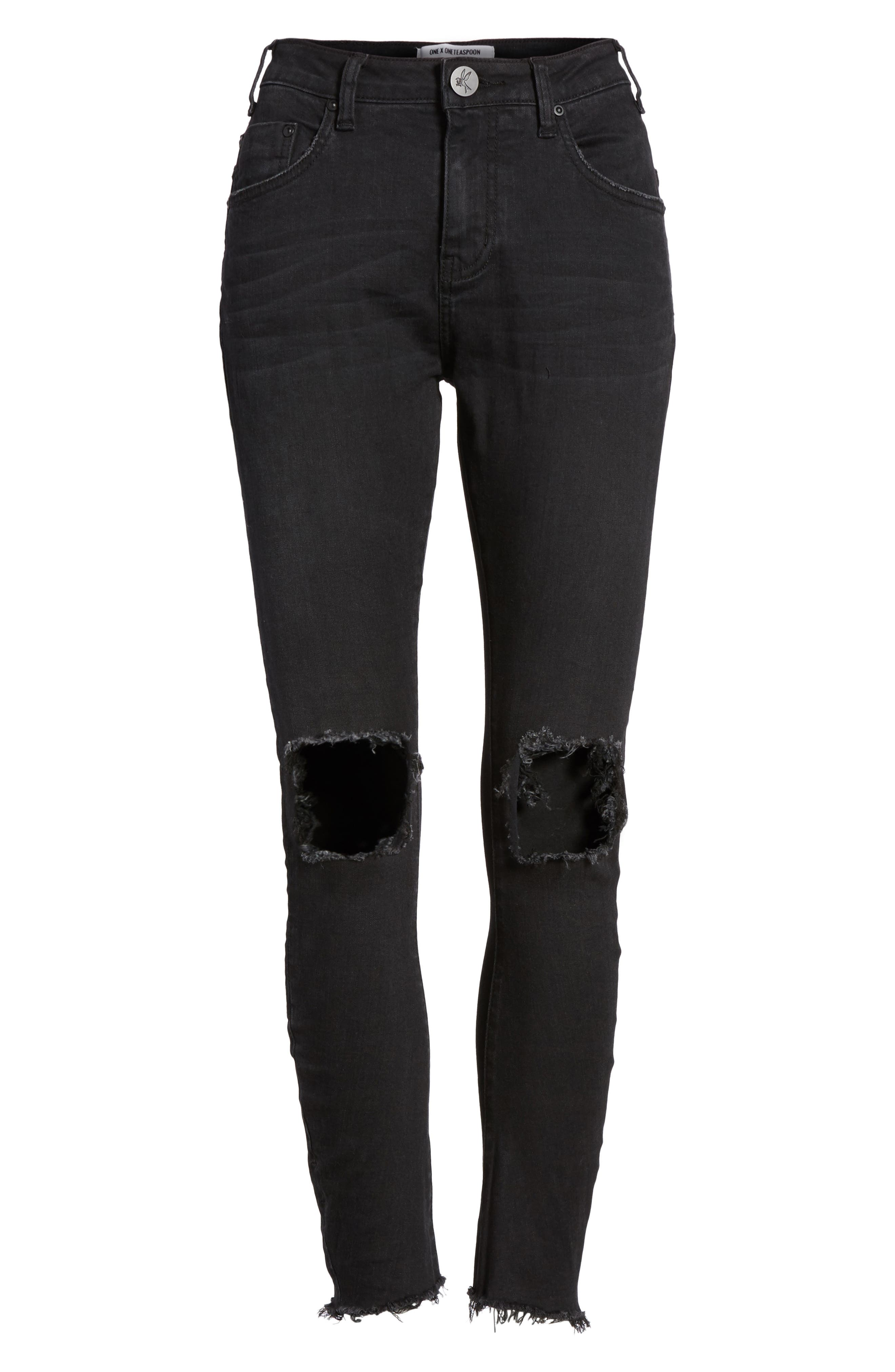 Freebirds Ripped High Waist Skinny Jeans,                             Alternate thumbnail 6, color,                             001