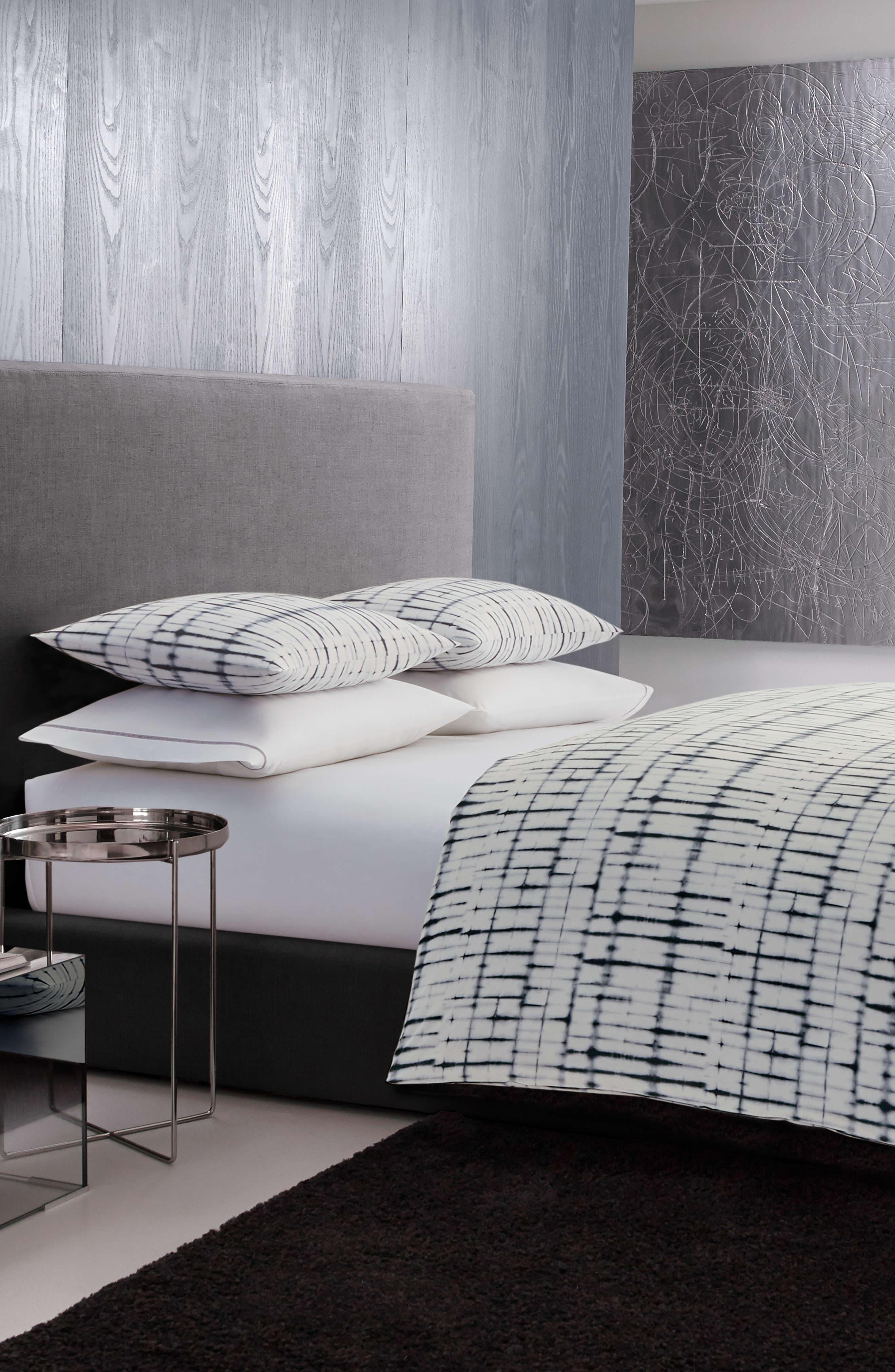 Shibori Grid Duvet Cover & Sham Set,                         Main,                         color, WHITE