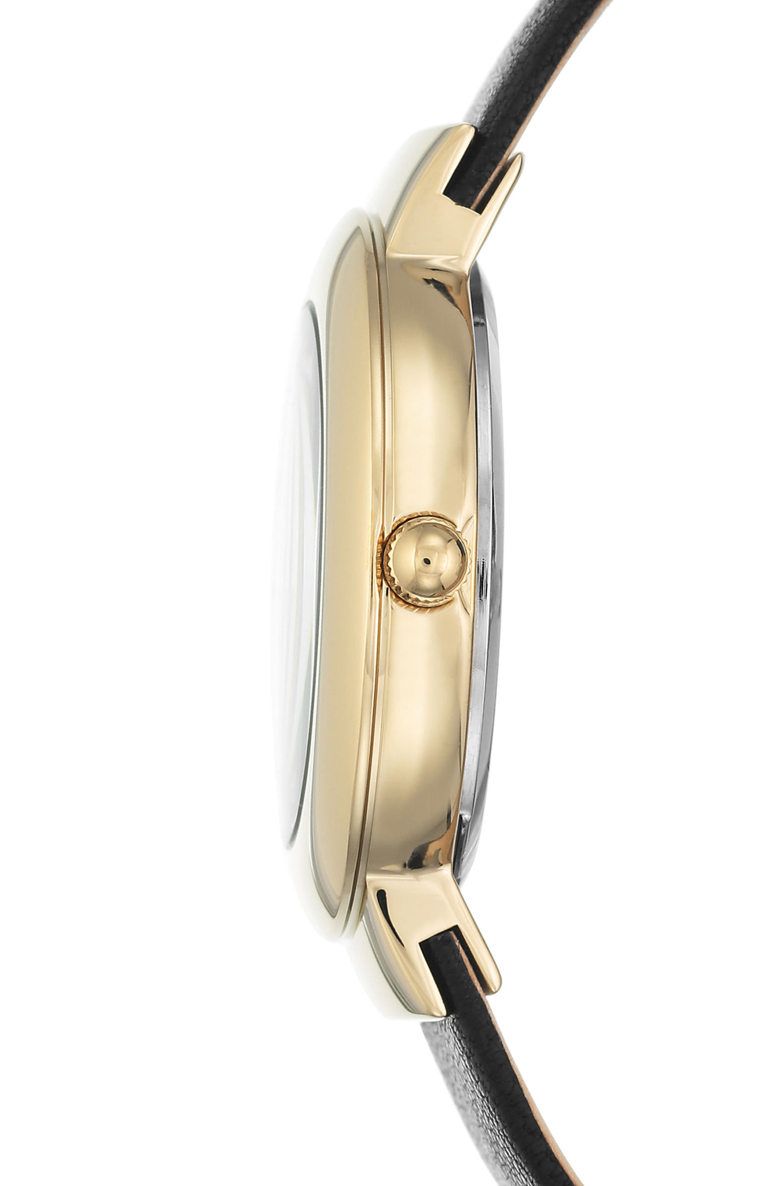 Round Leather Strap Watch, 36mm,                             Alternate thumbnail 7, color,