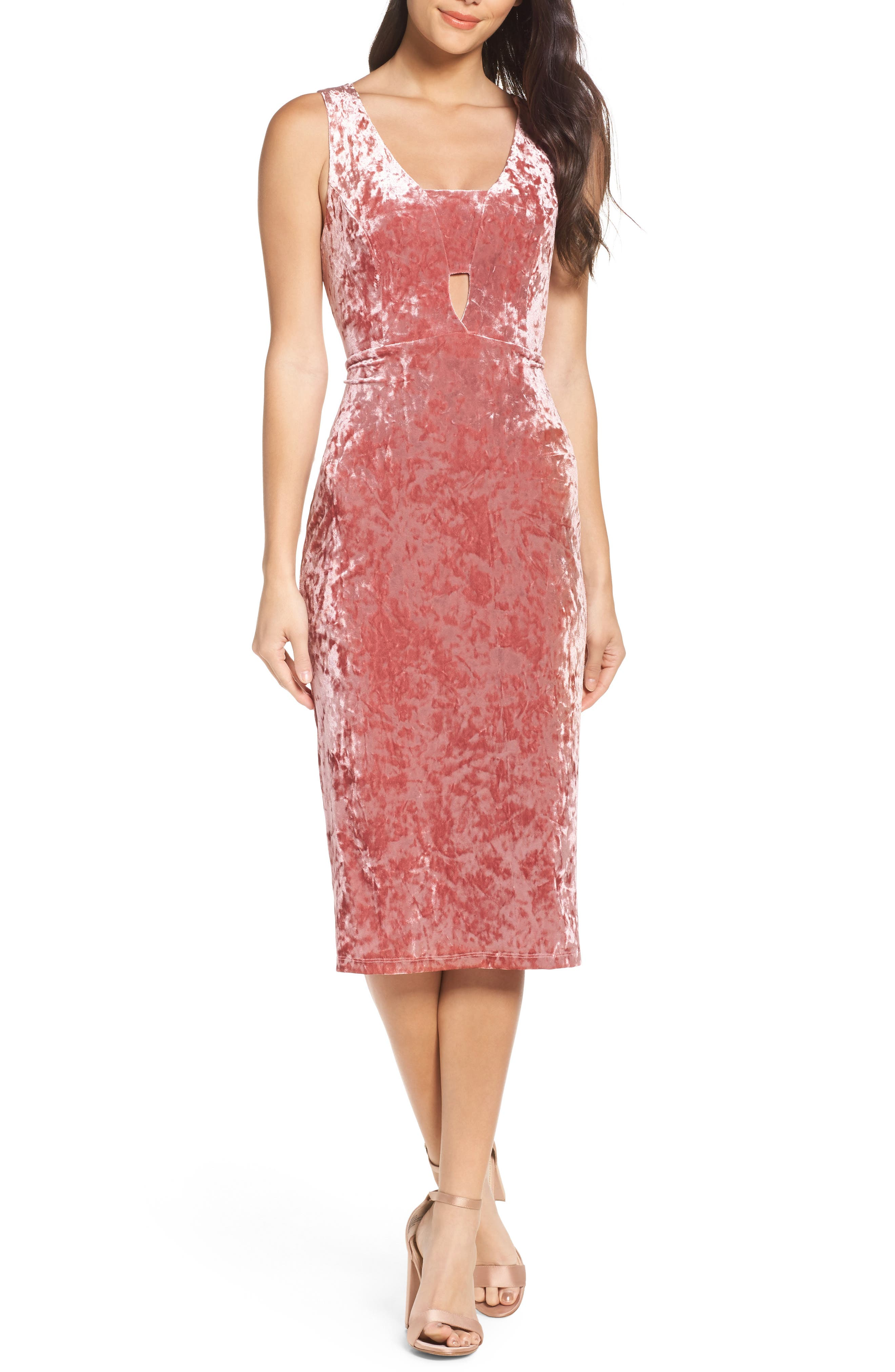 FRAICHE BY J,                             Velvet Midi Dress,                             Main thumbnail 1, color,                             ICE PINK