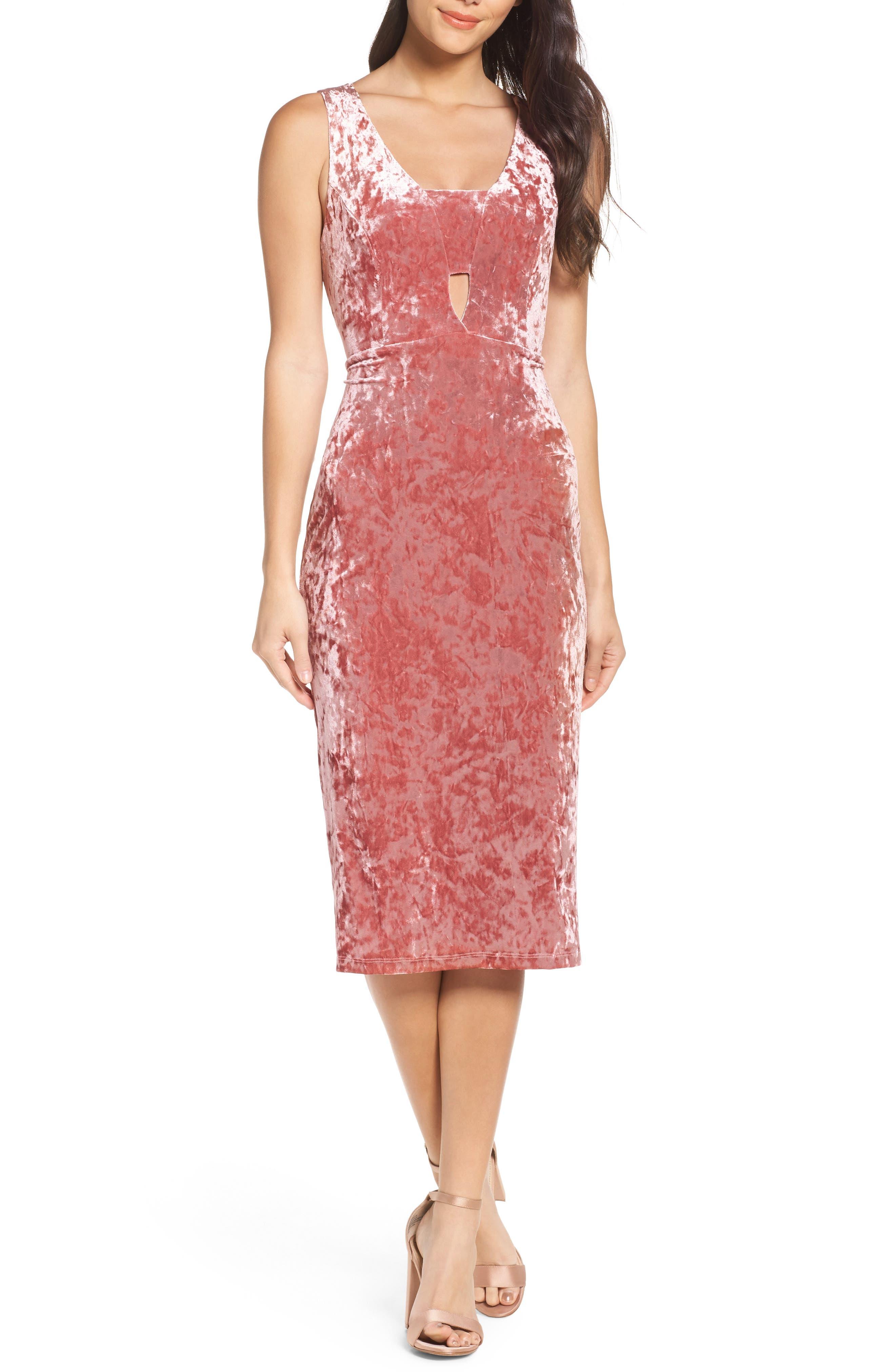 Velvet Midi Dress,                             Main thumbnail 1, color,                             ICE PINK